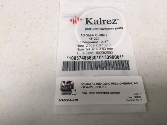 O-Ring  DU PONT AS-568A-229-1050 Kalrez Compound 1050LF 2 3/8x2 5/8 x 1/8
