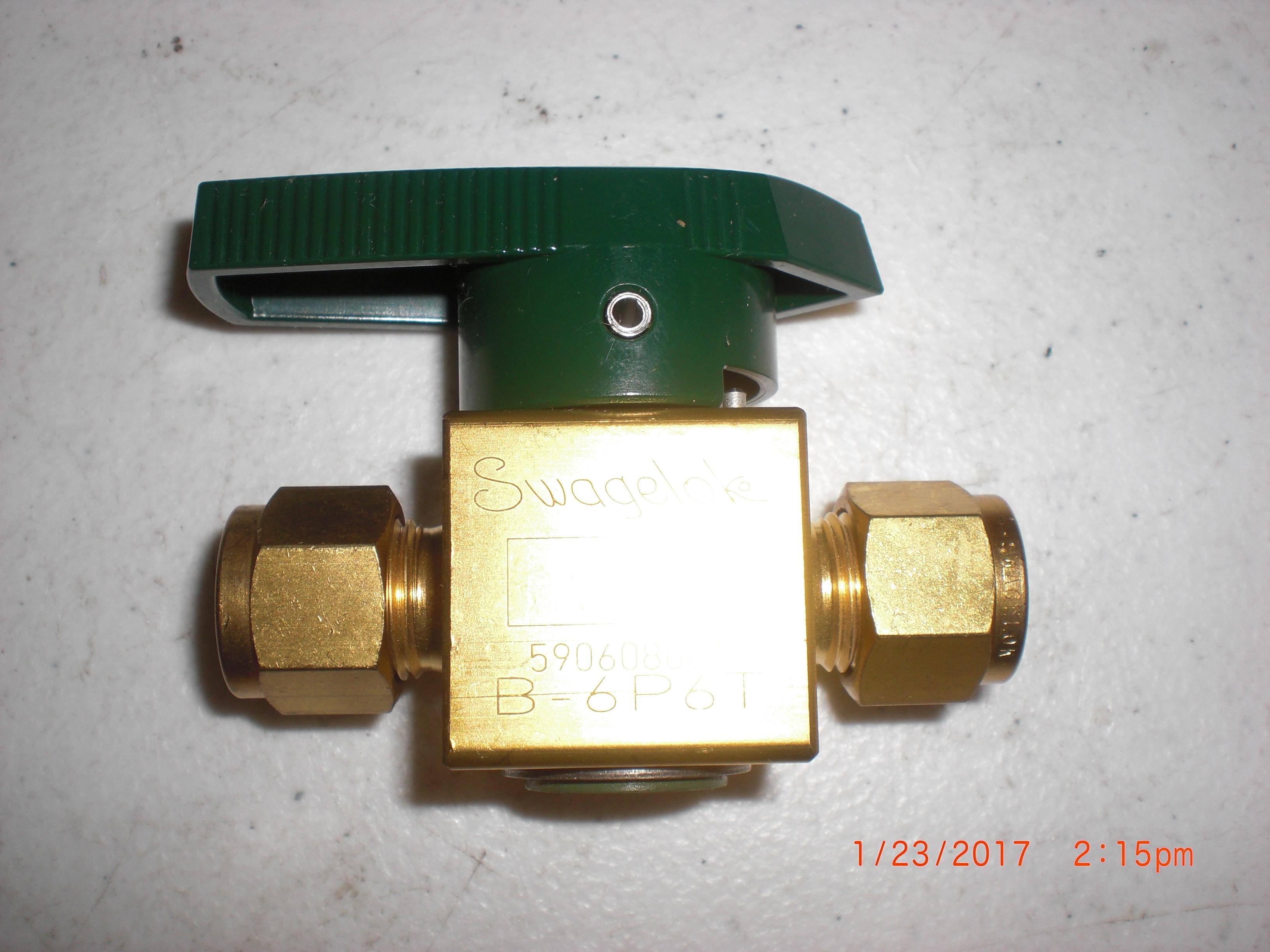 "Valve Swagelok B-6P6T Brass Plug Valve 3/8"" Tube"