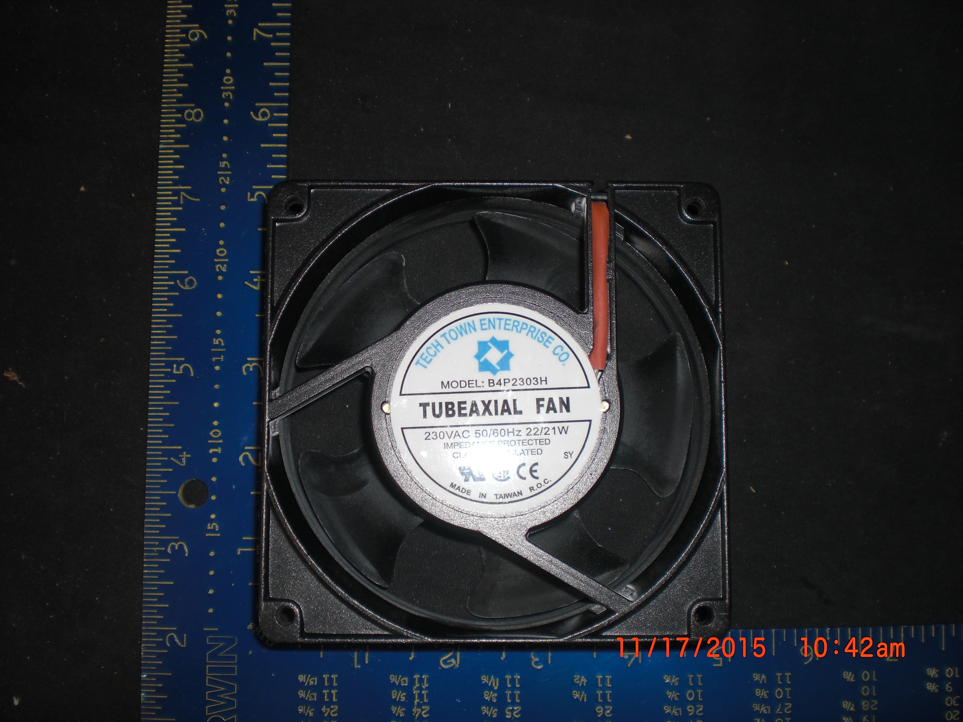 Fan Tubeaxial 230VAC, 50/60Hz, 22/21W Fan Tech Town B4P2303H
