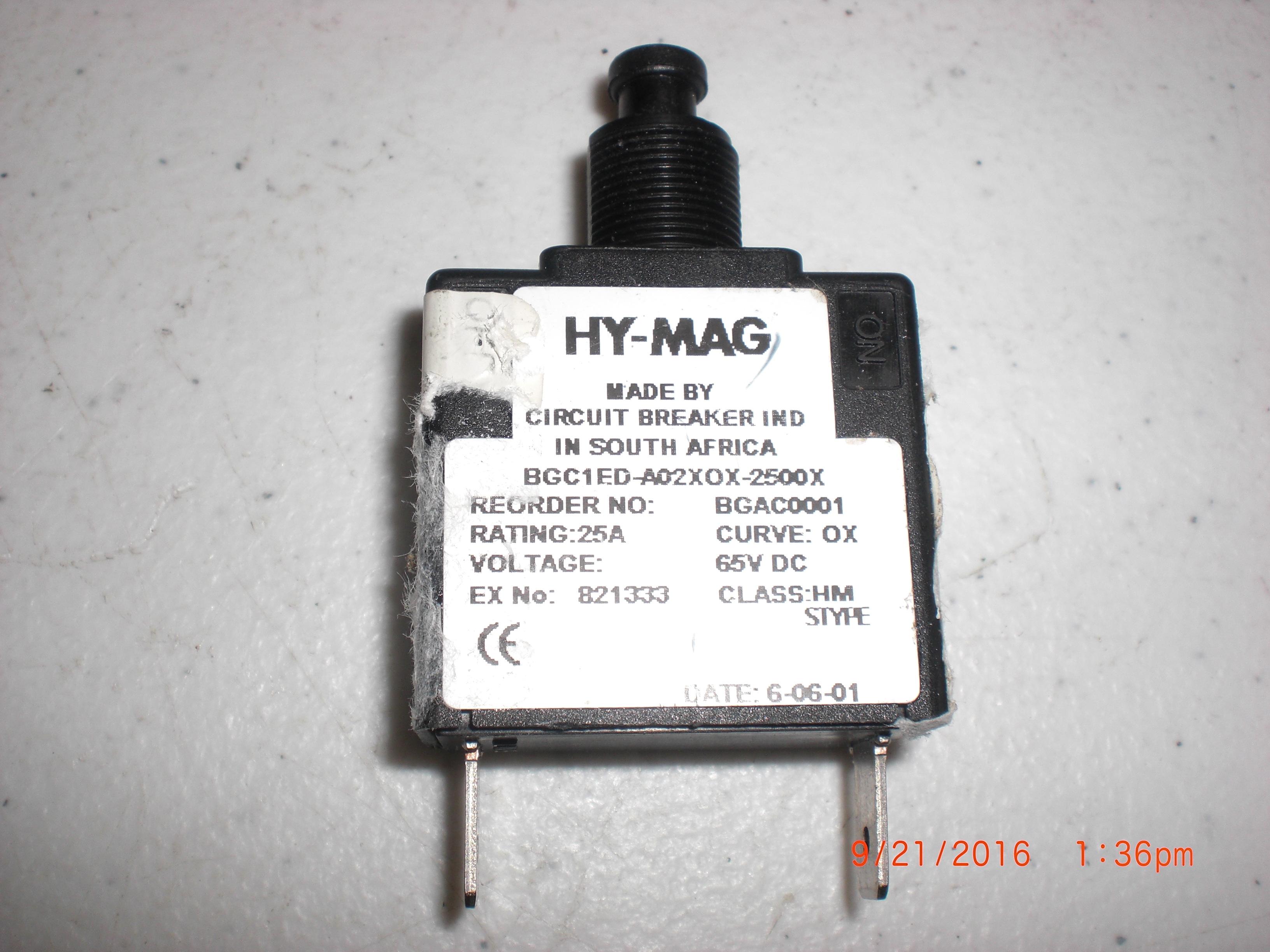 Electrical HY-MAG Circuit Breaker IND BGAC0001 25A 65VDC