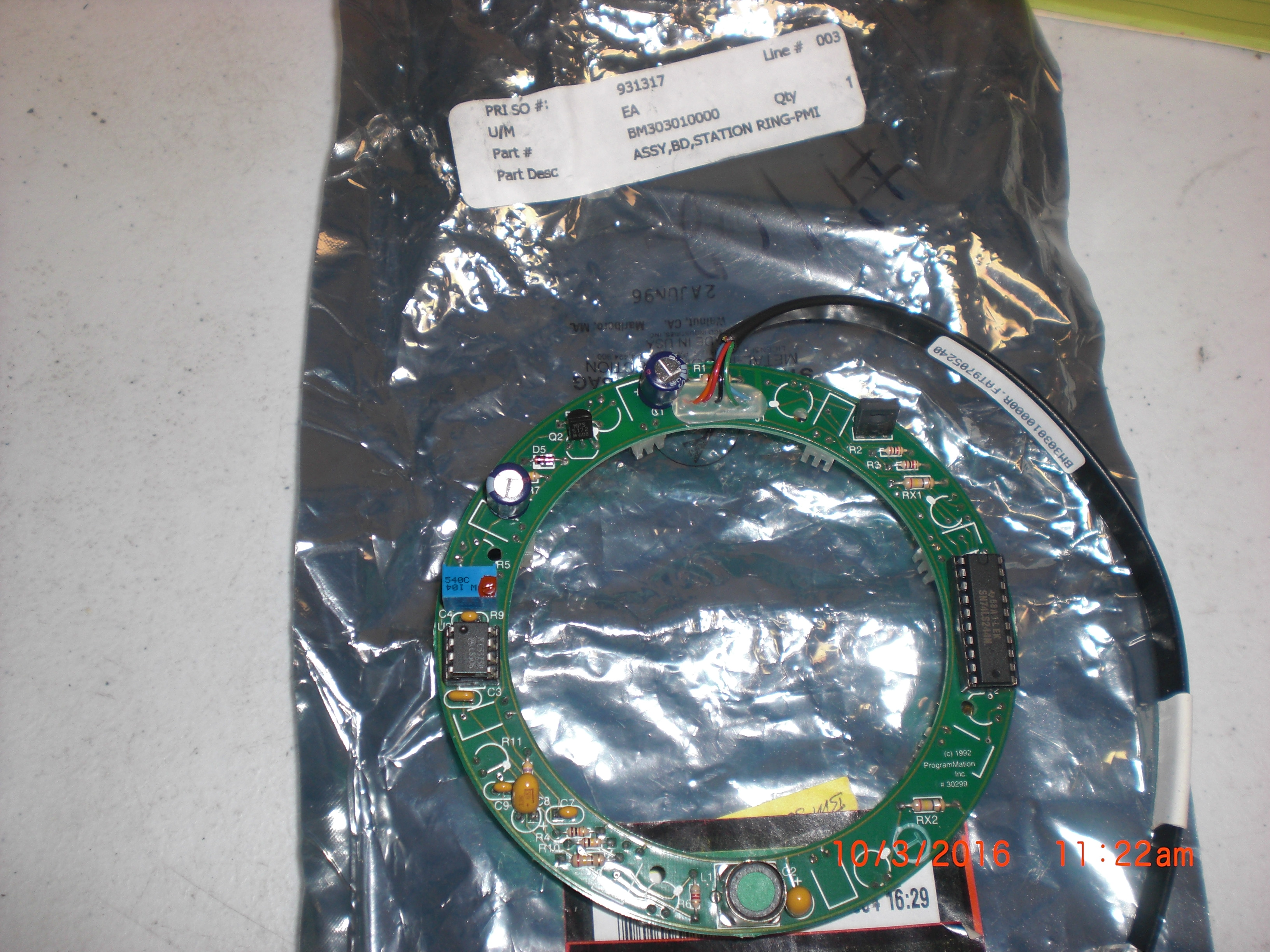 PCB BROOKS- PRI BM303010000 Assy BD Station Ring-PMI