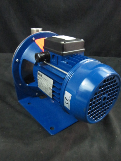 Pump KSB Multibloc CA 4-16  Centrifical SS 1 1/4 inlet  1in outlet , 50HZ, 0.37KW, 2/1.2A 2800l/min close-coupled pump of deep-drawn chrome nickel steel for handling pure and aggressive liquids not containing abrasive or solid substances.