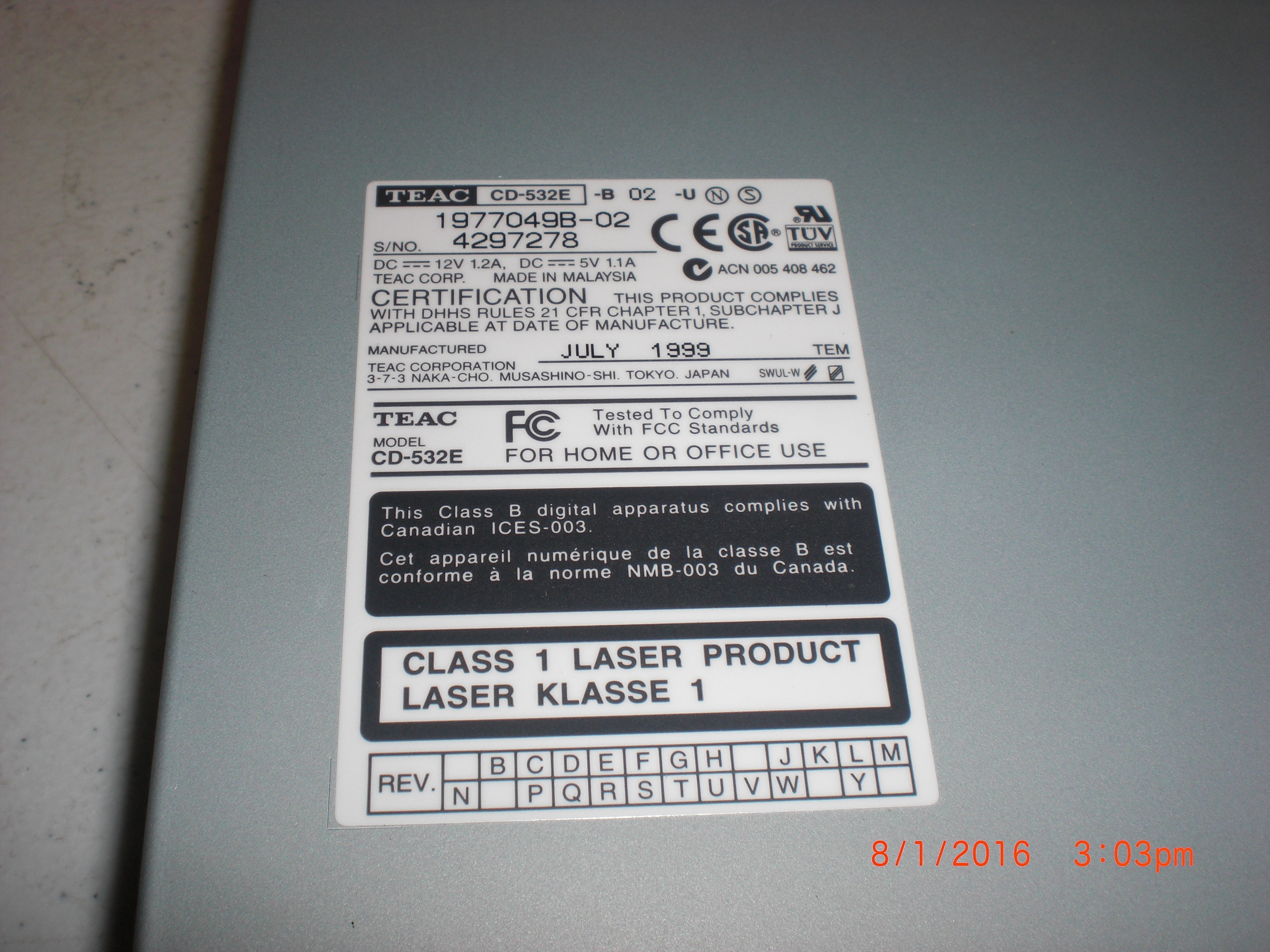 Computer Accessory TEAC CD-532E-B IDE CD-ROM Drive