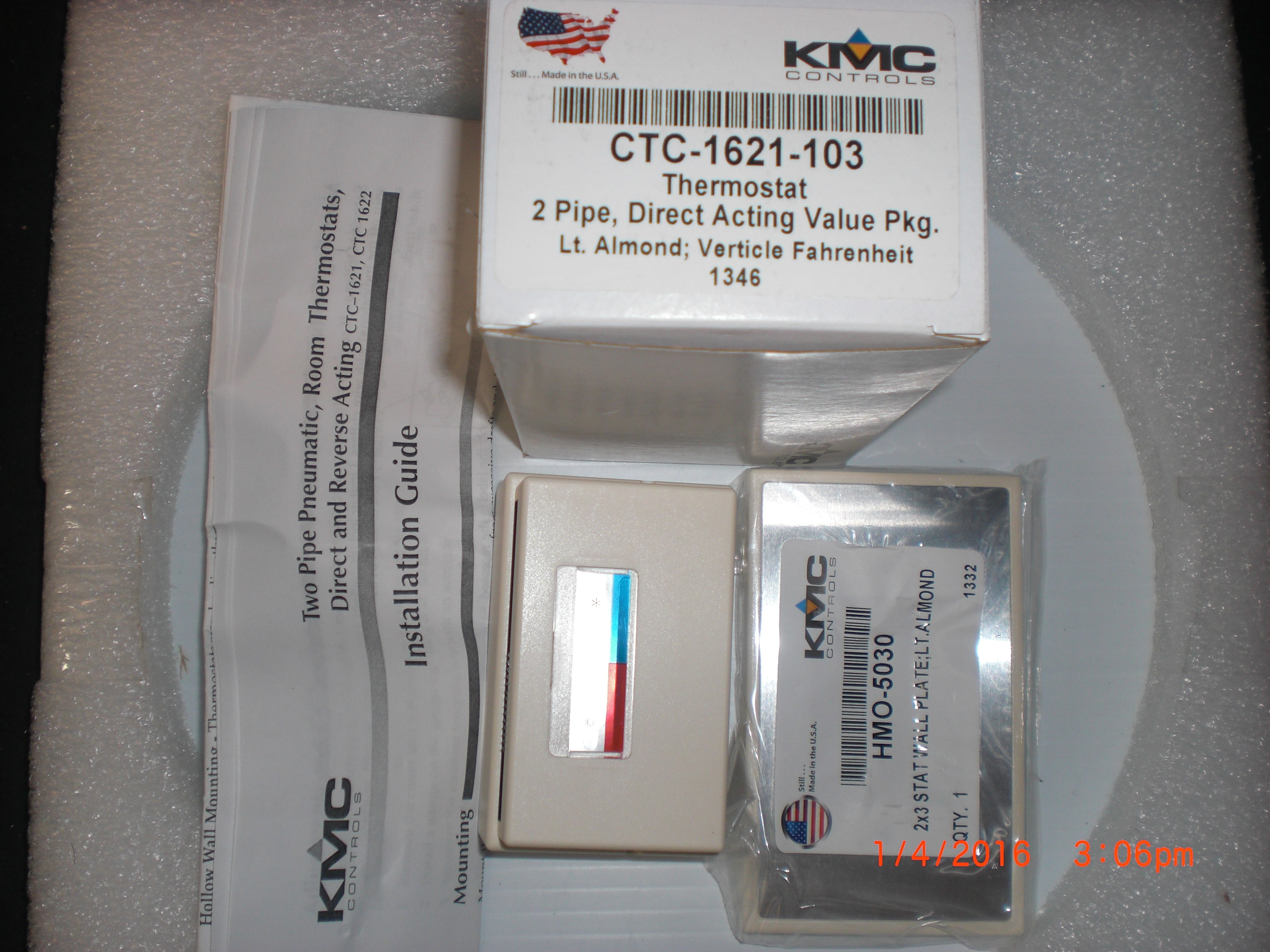 Instrument Thermostat 2 pipe Direct Acting Valve KMC Controls  CTC-1621-103