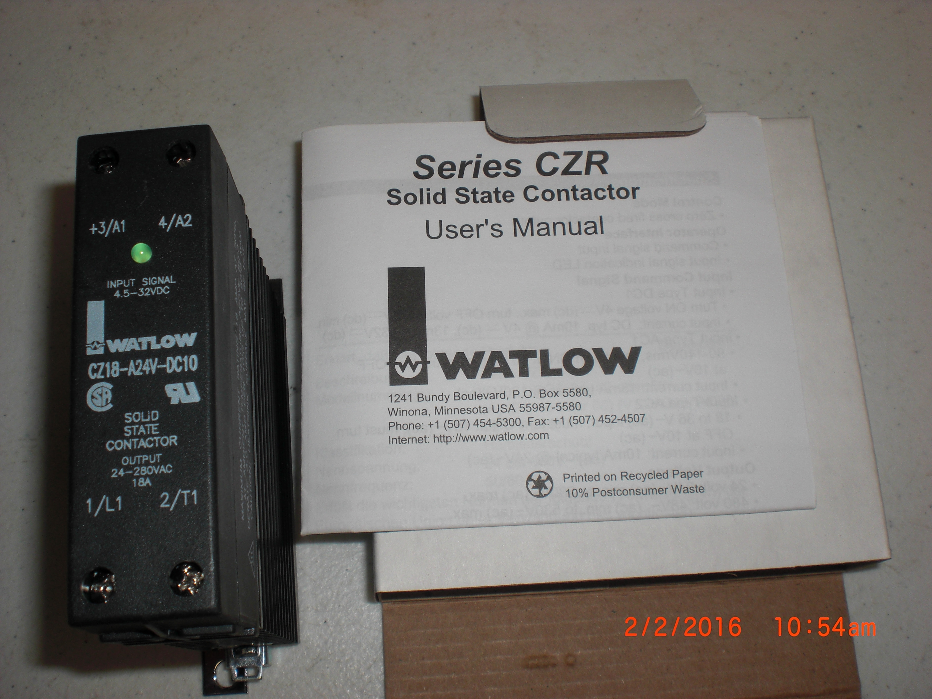 Heater Solid State Contactor WATLOW CZ18-24V-DC10