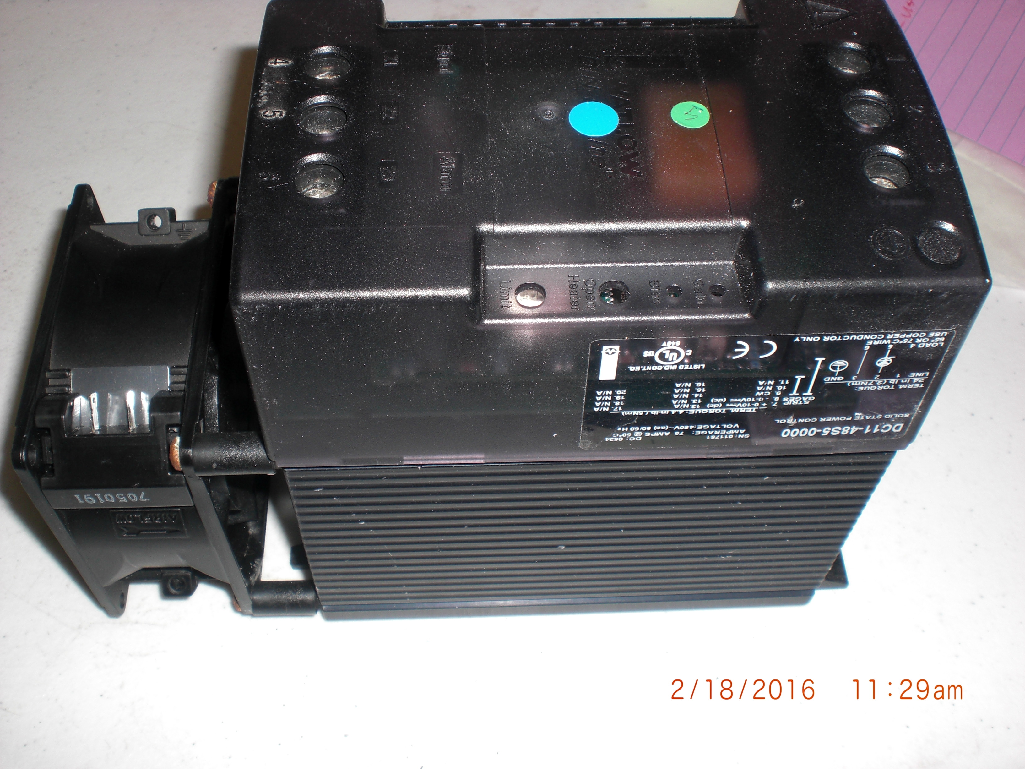 Controller Watlow Anafaze DC1148S5-0000 Solid State Power Control, DIN-A-MITE, 75A, 480V, 50/60Hz