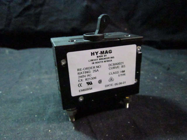 Electrical HY-MAG Circuit Breaker IND DCBA0021 Circuit Breaker, 25A, 250V AC