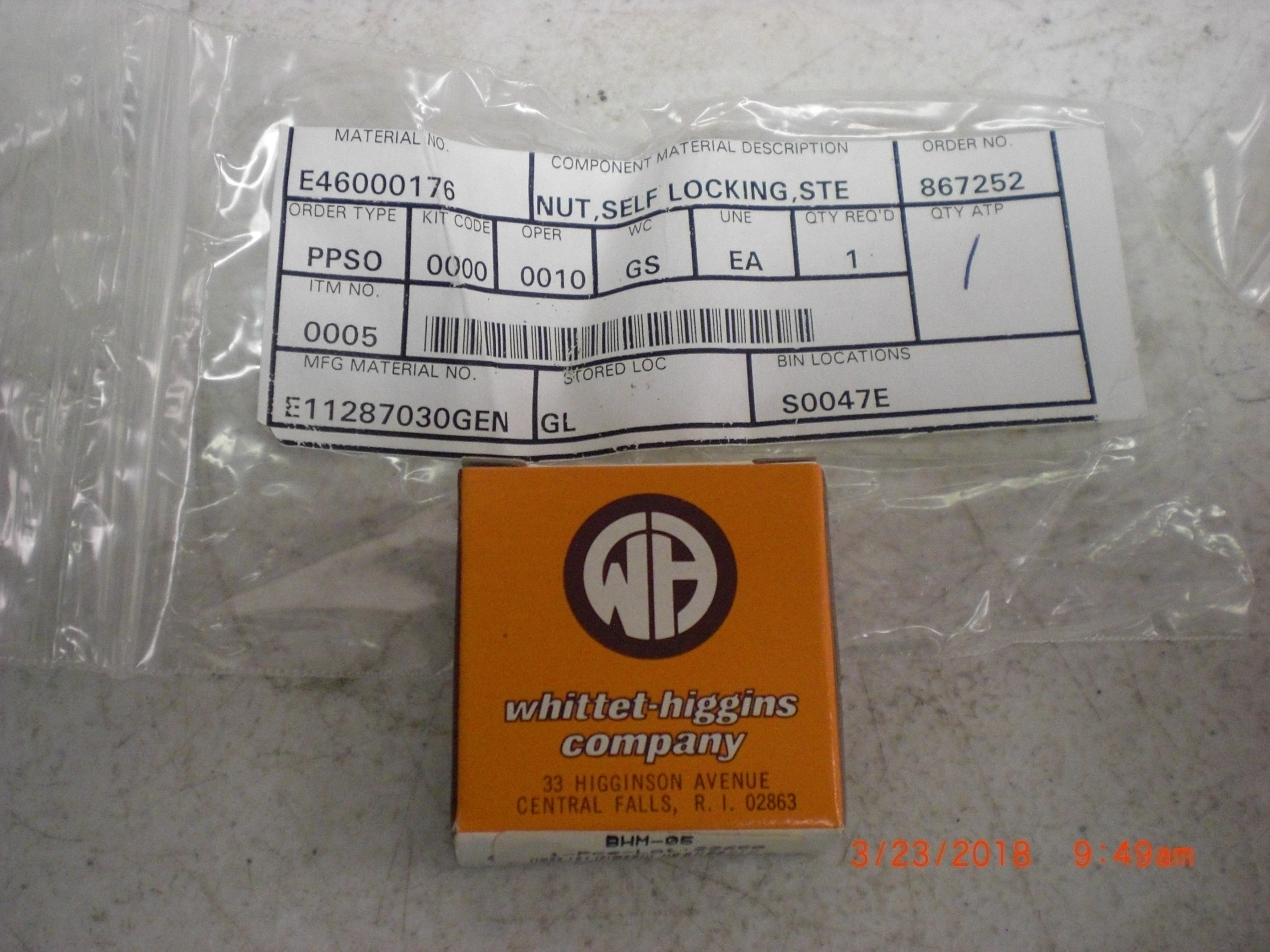 Nut WHITTET HIGGINS BHM-05 VARIAN E46000176 self locking