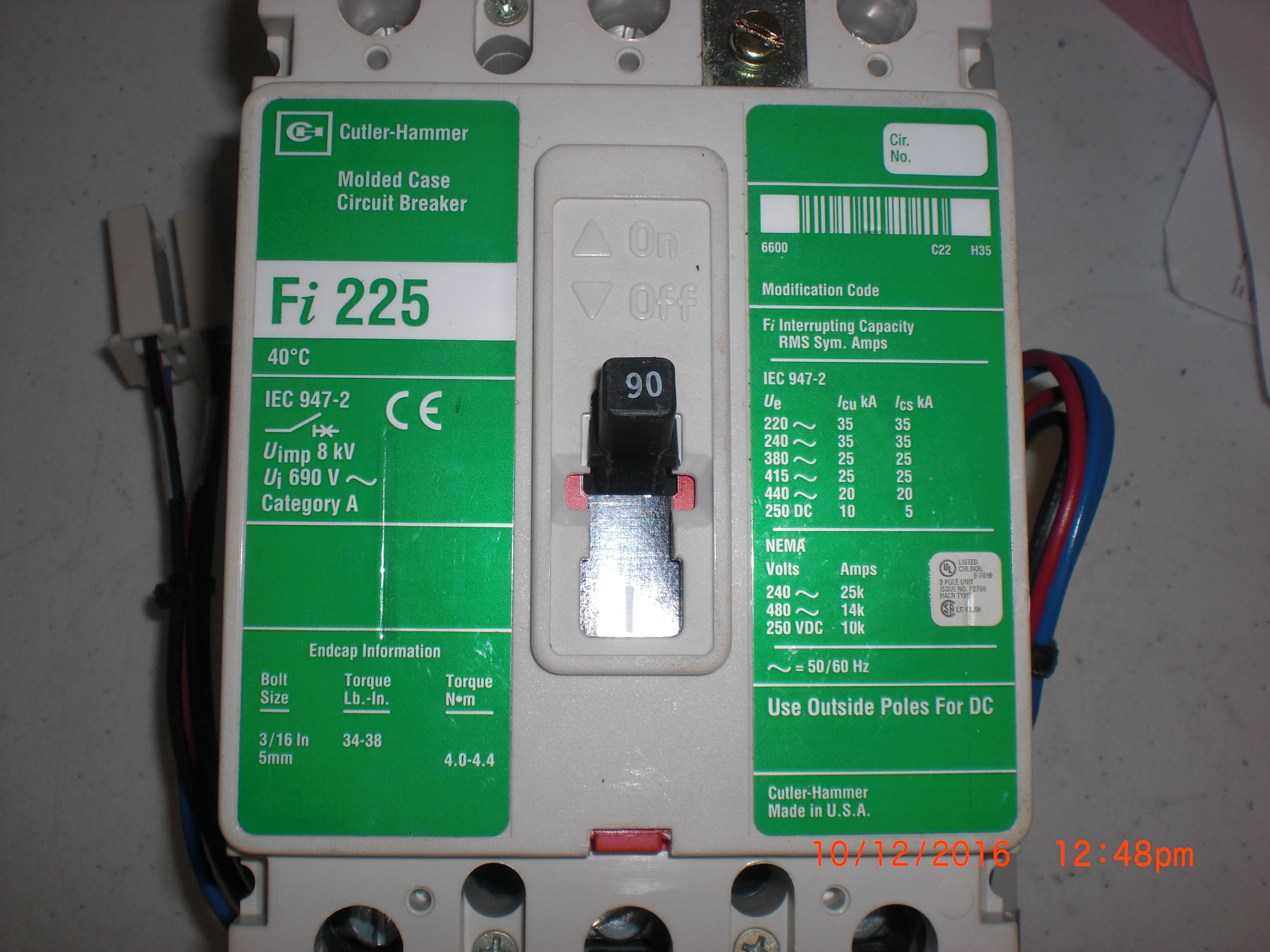 Image is loading Electrical CIRCUIT BREAKER 70A Cutler Hammer Fi225 MOLDED Electrical CIRCUIT BREAKER