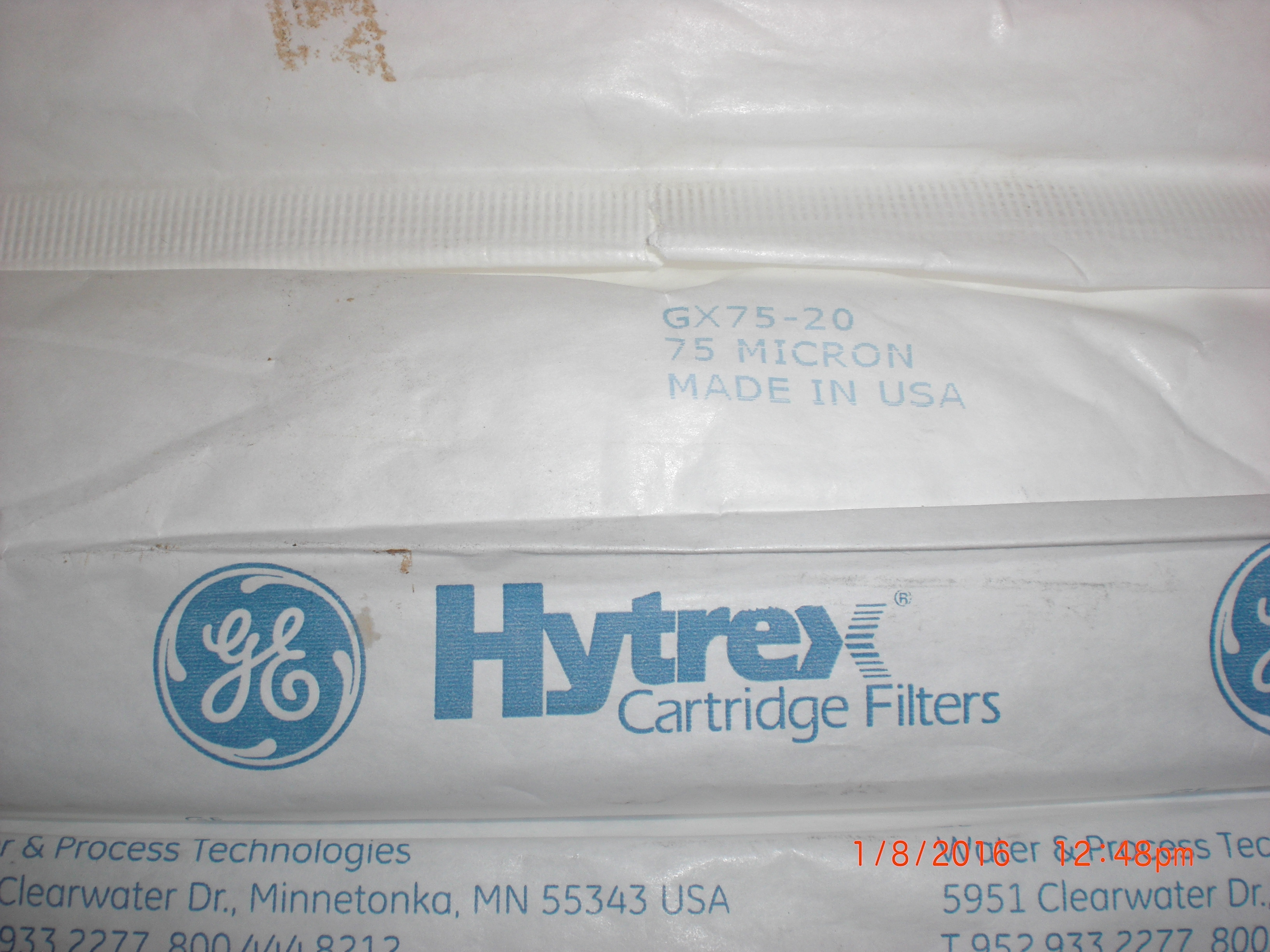 Filter  Hytrex 20in 75 micron PKG 5 GE GX75-20  Edwards Y11201007