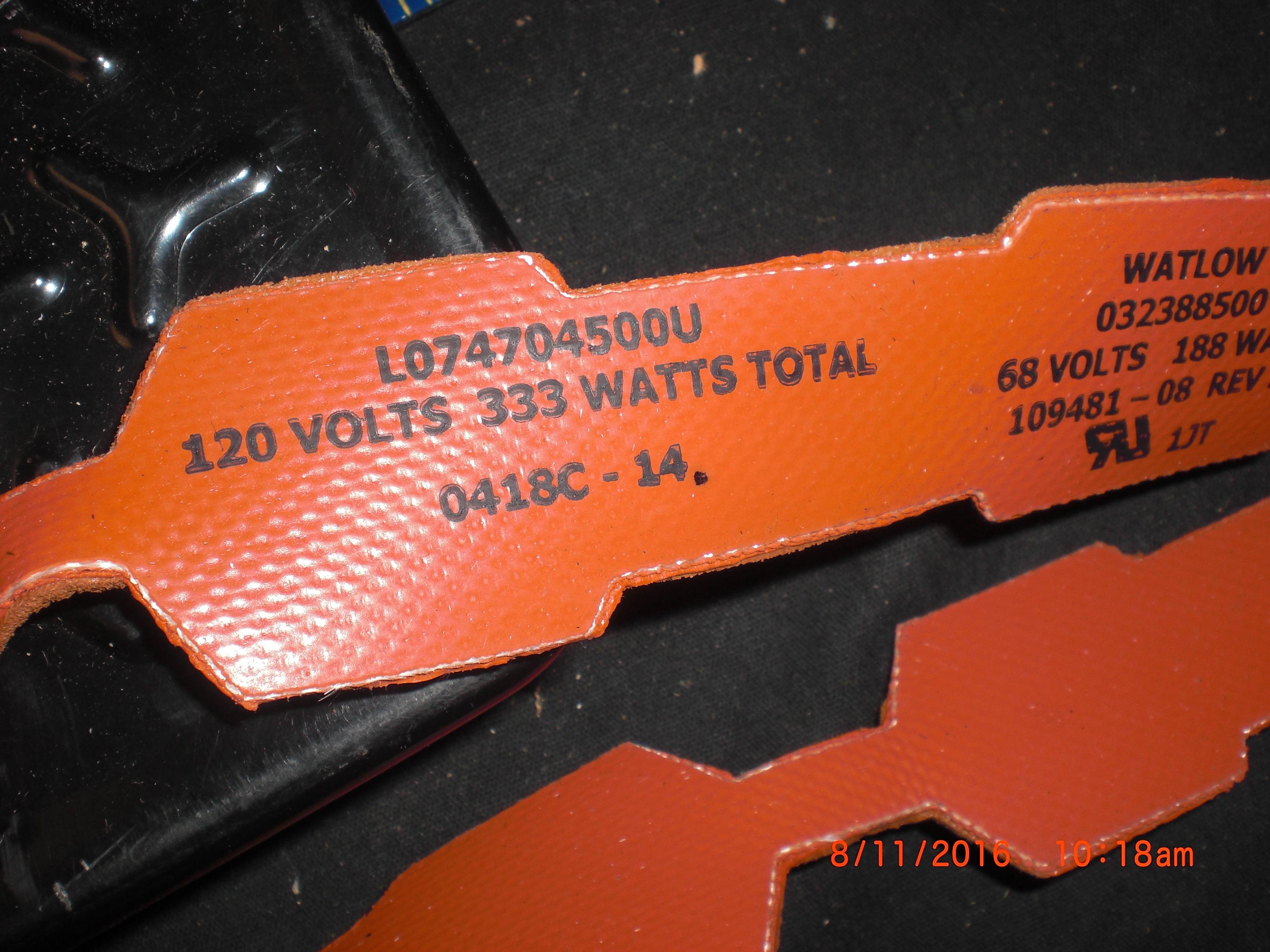 Heater 120V 333W silicon Pail / Drum  WATLOW L074704500U