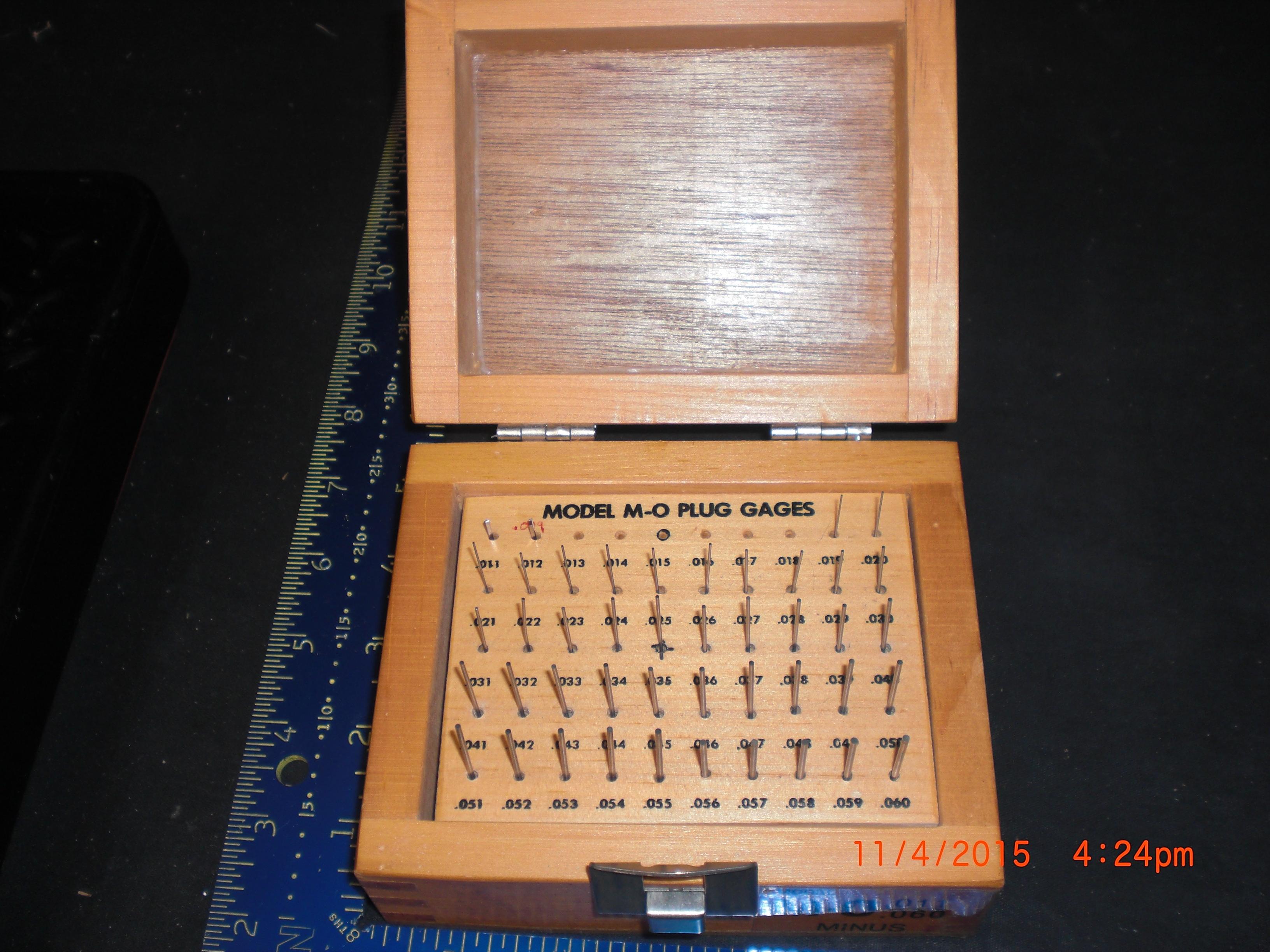 Tool M-O Plug Gauges .011-.060  Missing .013 to .018  MYER Gauge Company