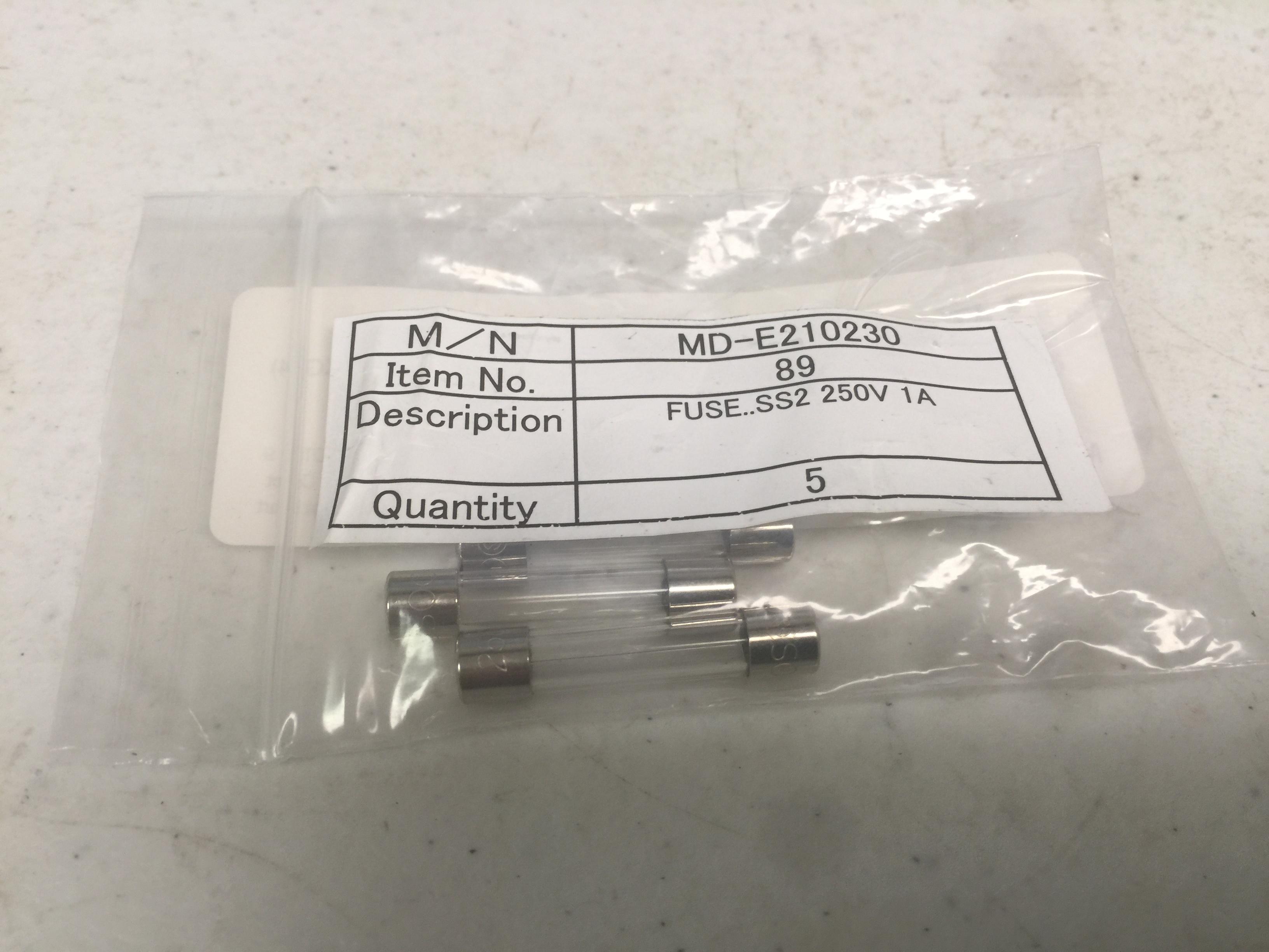 Fuse SOG MD-E210228 FUSE, SS2 250V 1A (PKG 5)