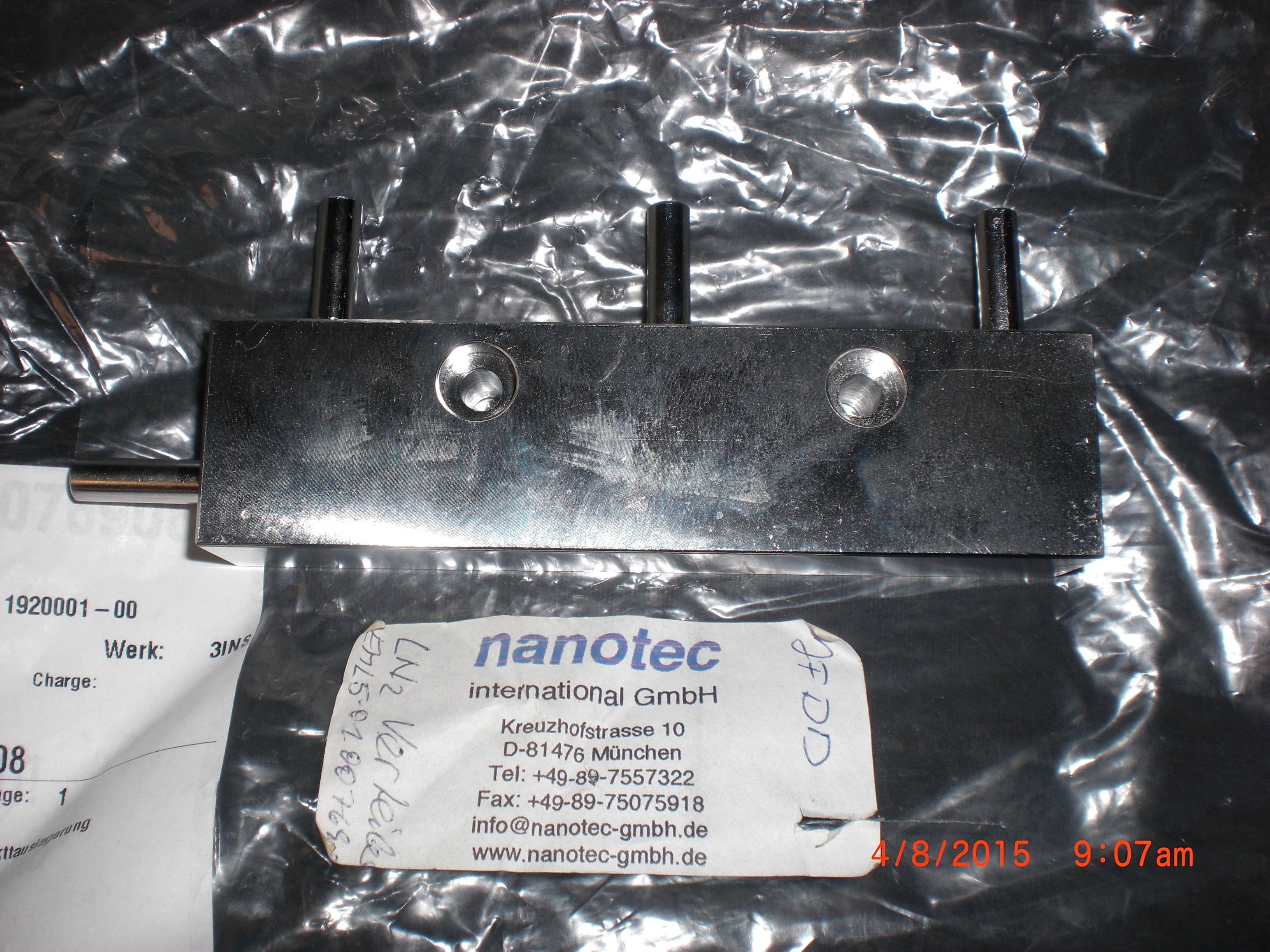 Valve LN2 /Gas Manifold Block 316L SS 3 port 1/4T nanotec MH5-1920001-00
