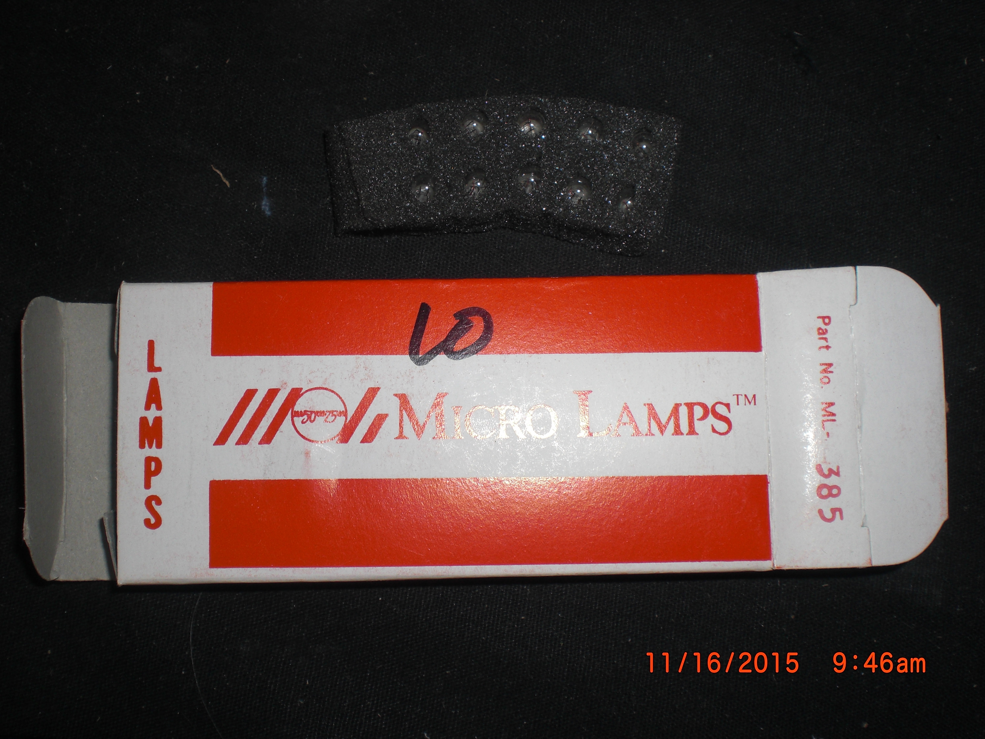 Lamp INCANDESCENT 28VDC .04A PKG 10  Micro Lamps ML-385  MSCD .150 10,000 HRs