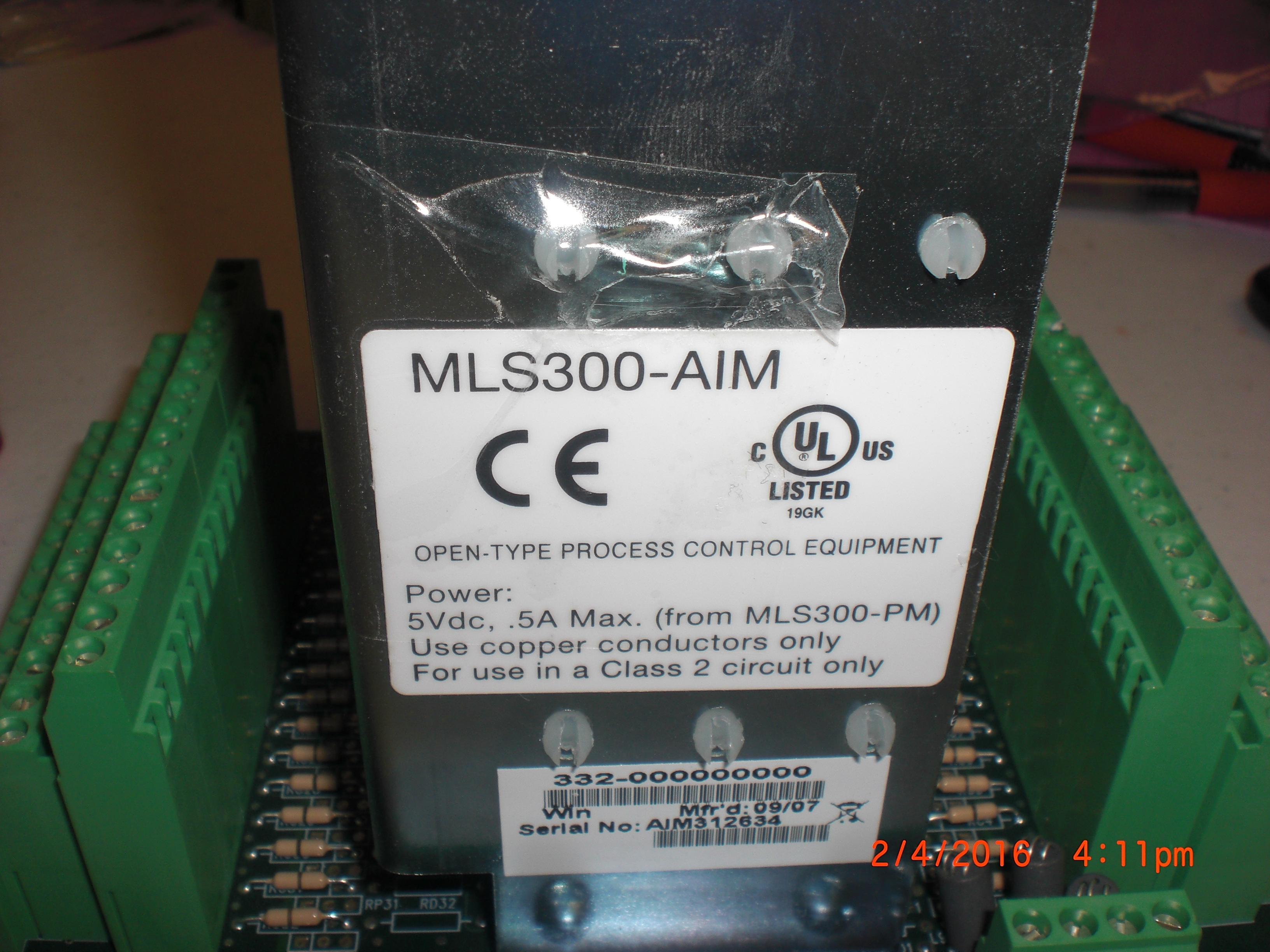 Controller Watlow Anafaze MLS300-AIM ANAFAZE TEMPERATURE CONTROLLER MLS AIM TB