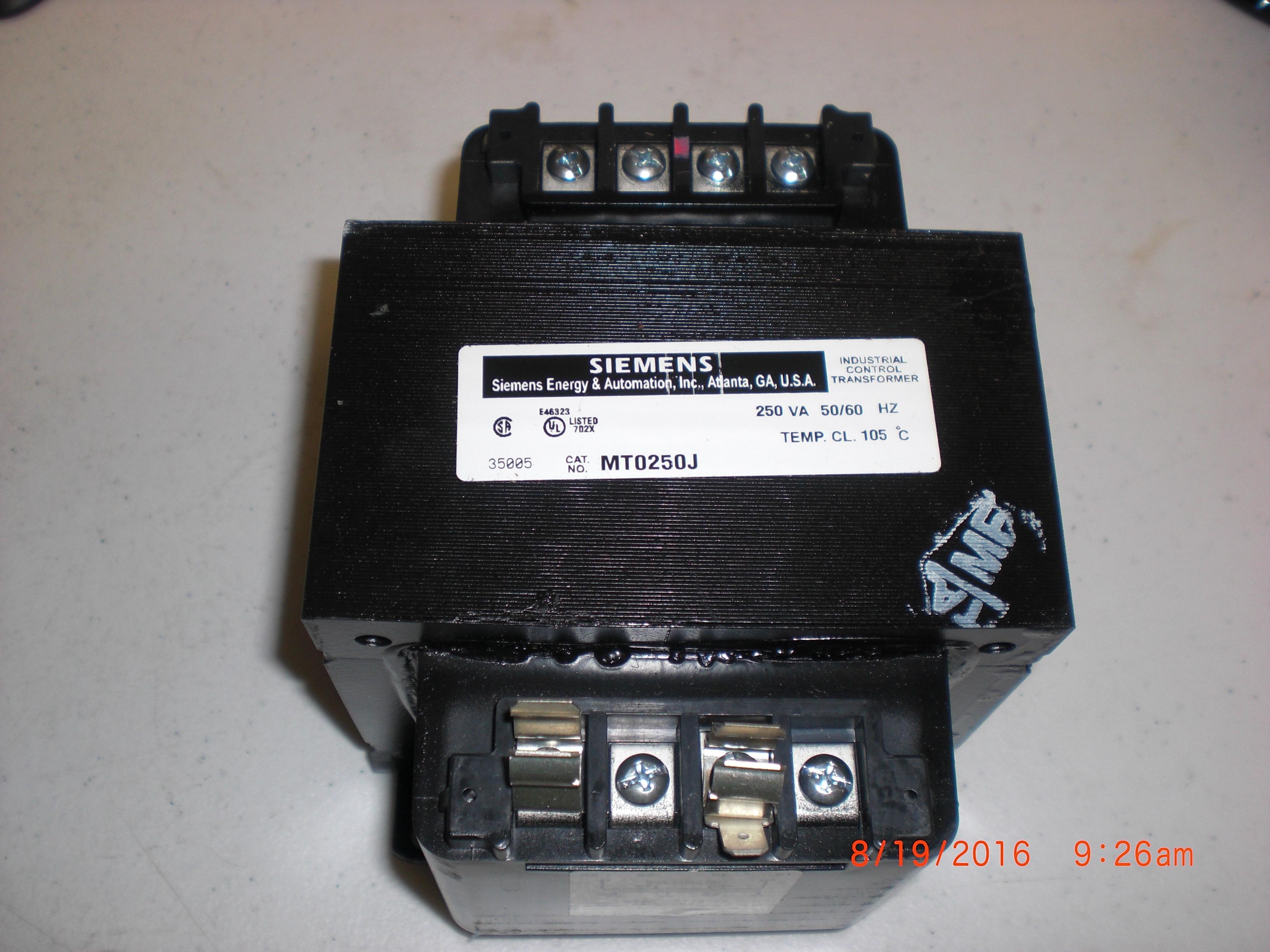 Transformer  Industrial Power  250VA Rating SIEMENS MT0250J