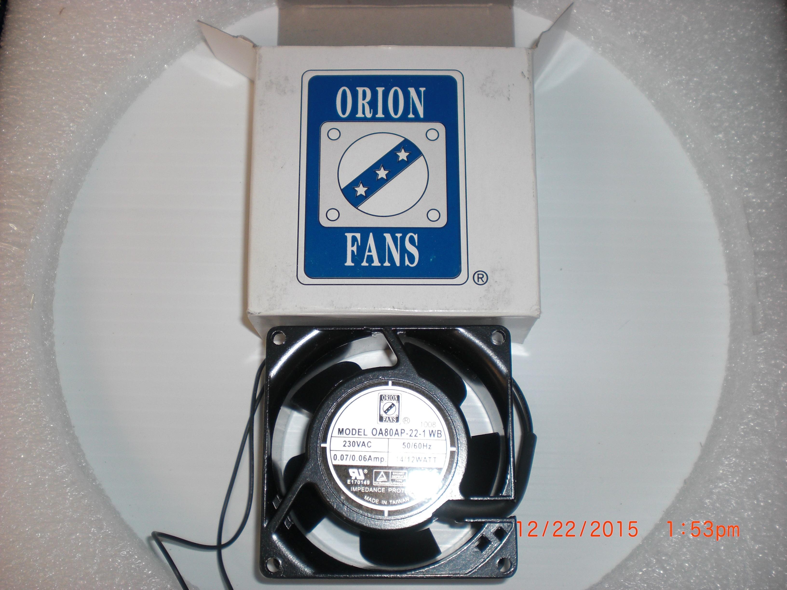 Fan  80X42mm 230VAC  ORION OA80AP-22-1WB RS 6197009