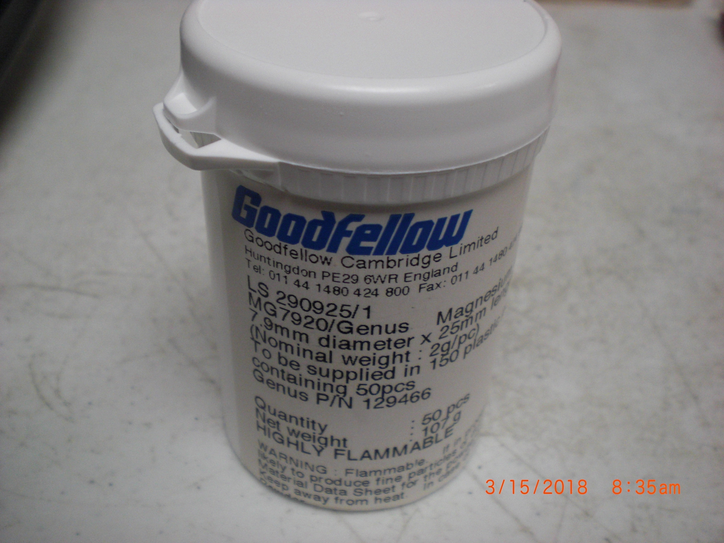 Analyzer Magnesium Rod 50 pcs Dia 7.9mm GoodFellow MG7920/79 VARIAN P129466