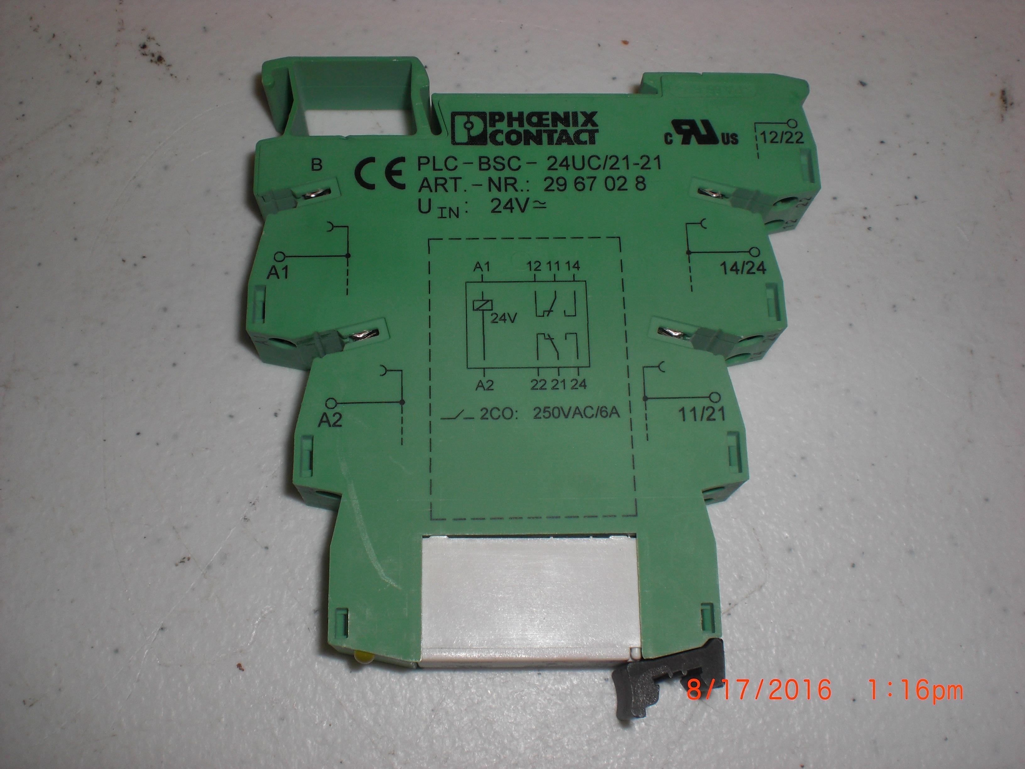 Relay PHOENIX  CONTACT PLC-BSC-24UC/21-21 DIN rail NS 35/7.5, 1 PDT, input voltage 24 V DC