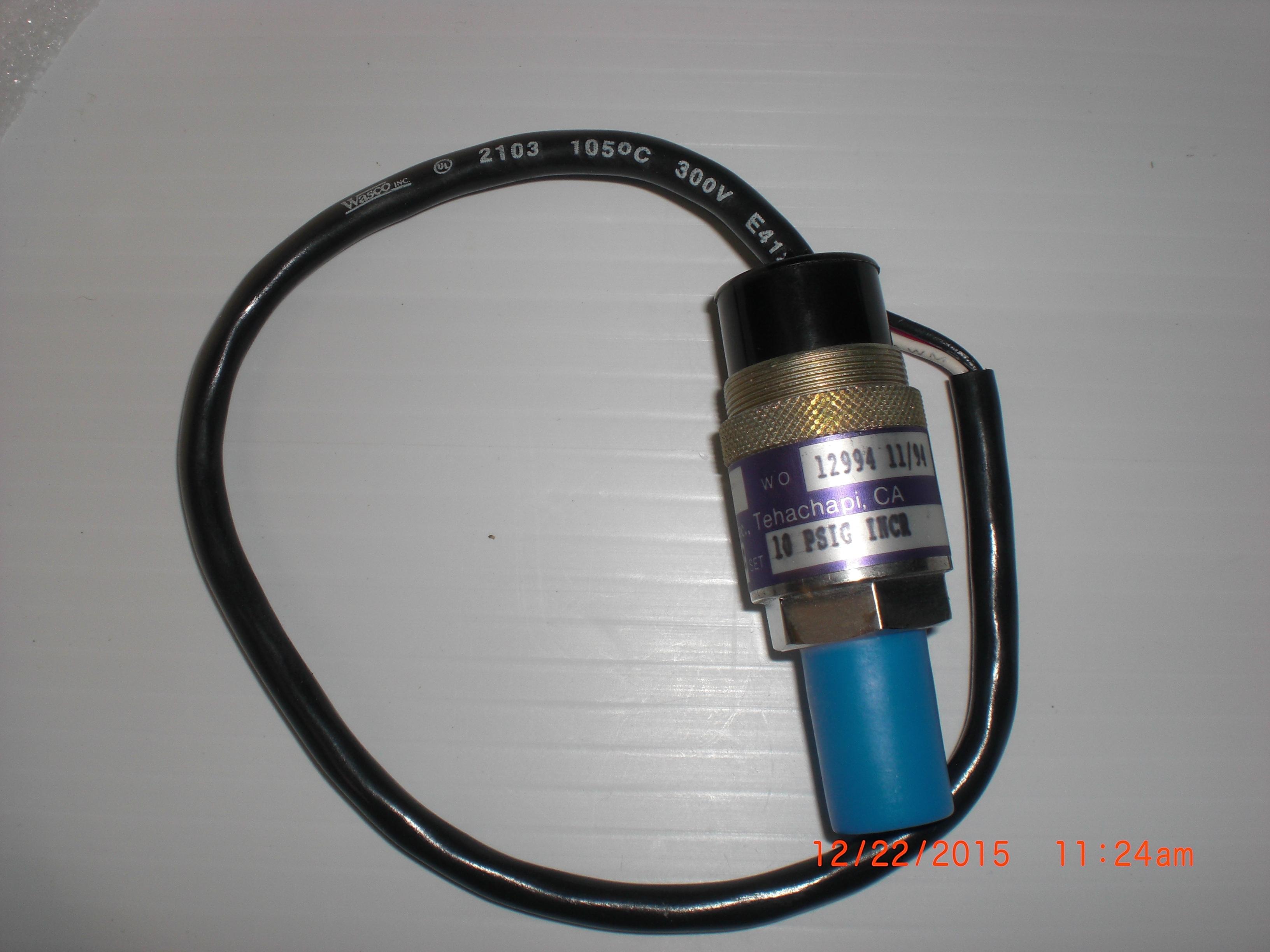 Switch Pressure 10 PSI  1A 115VAC 1/4MVCR Wasco SP129-51W3A/6230
