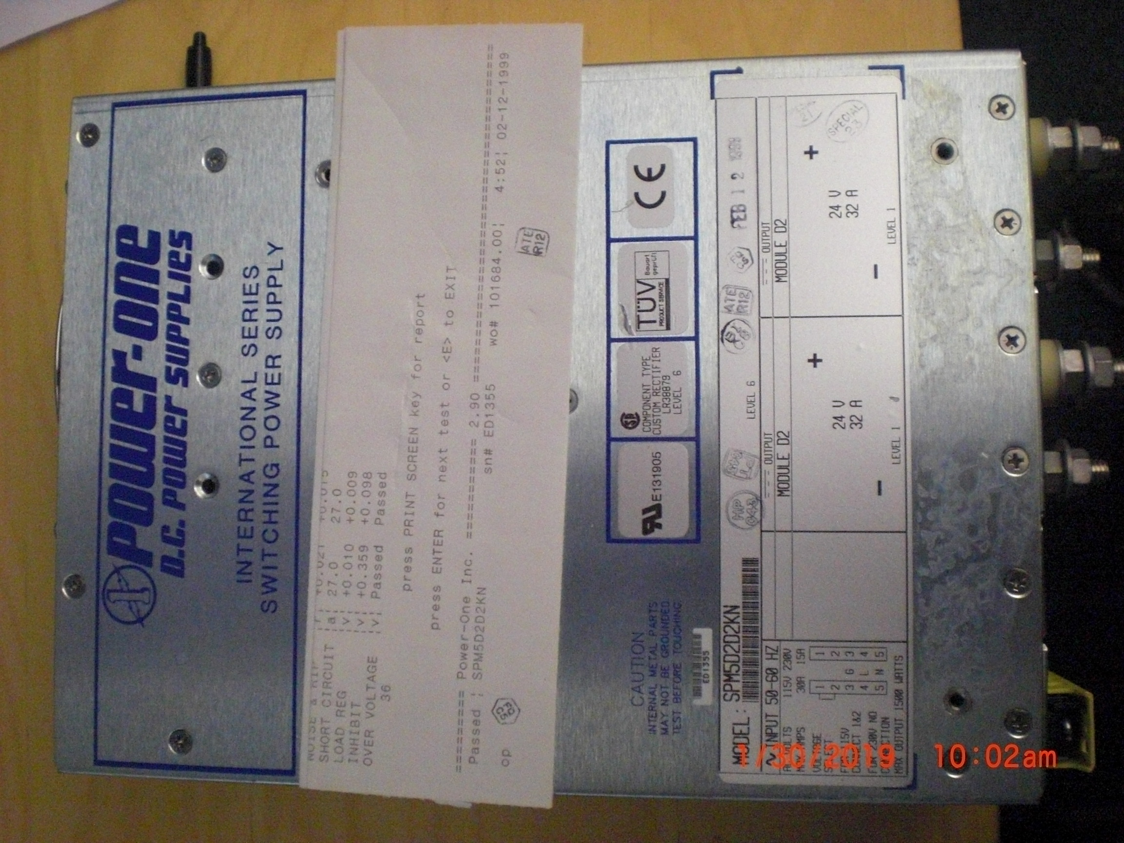 Power Supply  POWER ONE  SPM5D2D2KN Switching 24VDC 32A