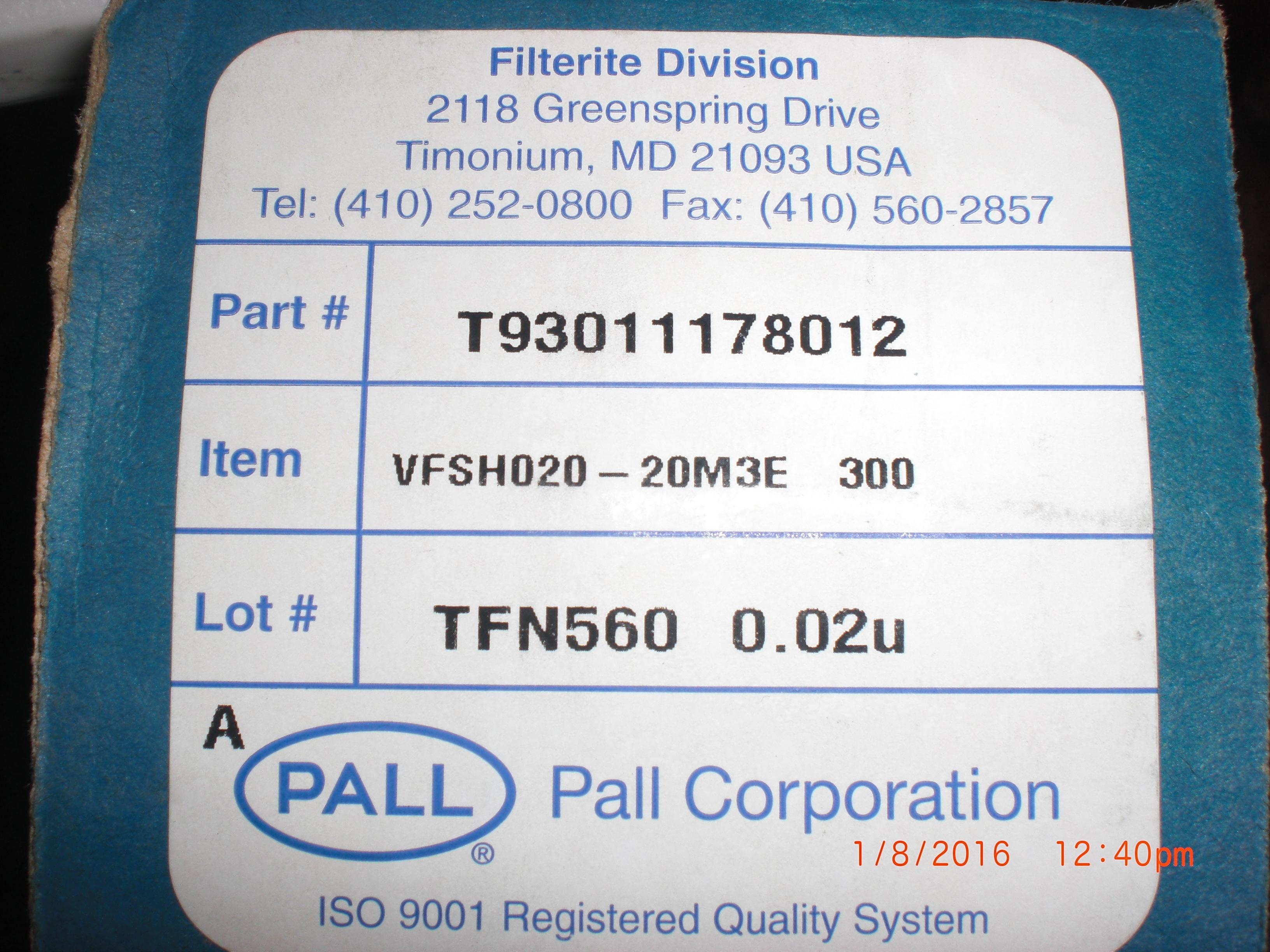 Filter  0.02um PALL T93011178012 Filterite VFSH020-20M3E 300