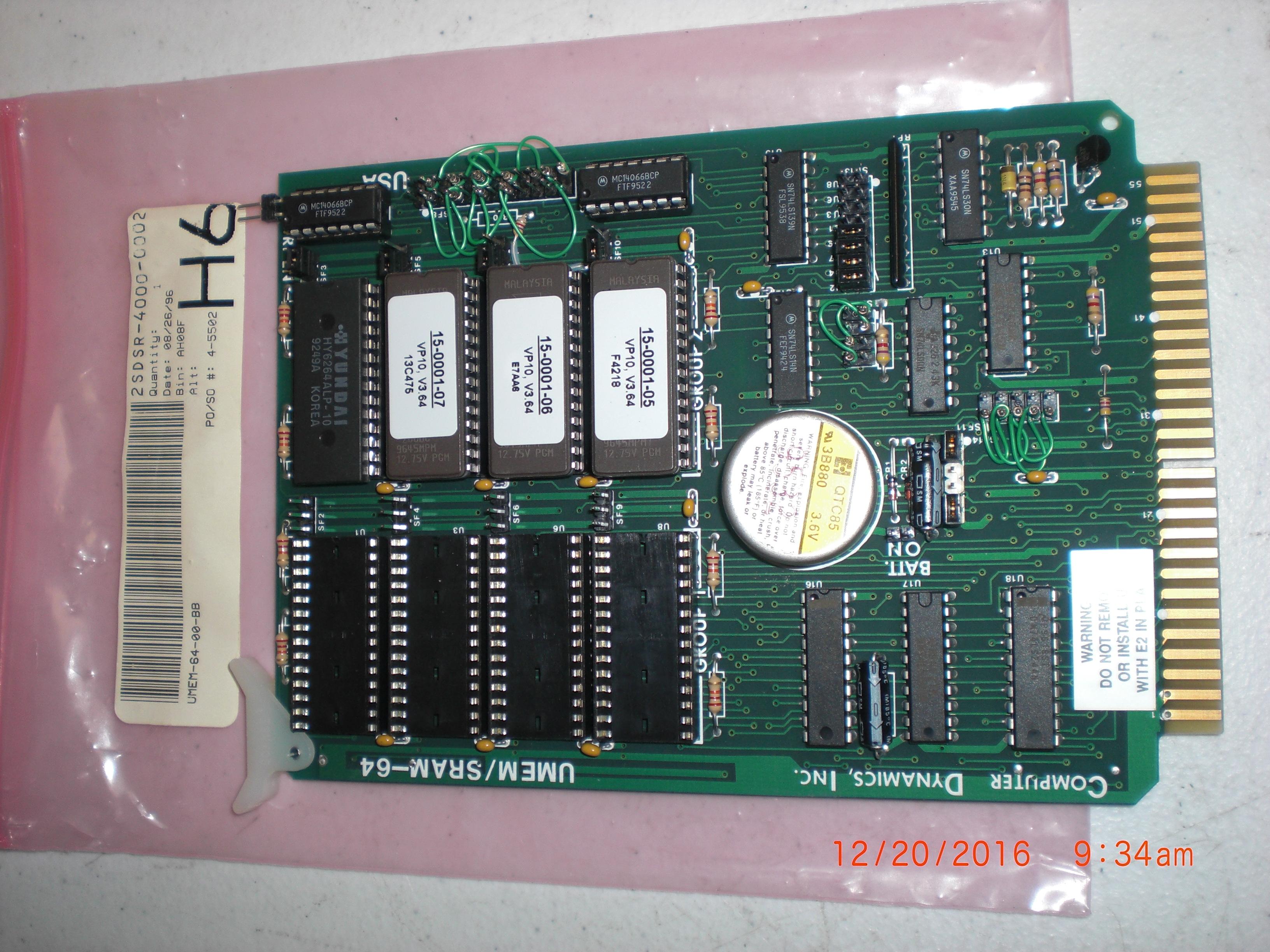 PCB UMEM/SRAM-64 Computer Dynamics UMEM-64-00-BB  Un-Tested  No Return