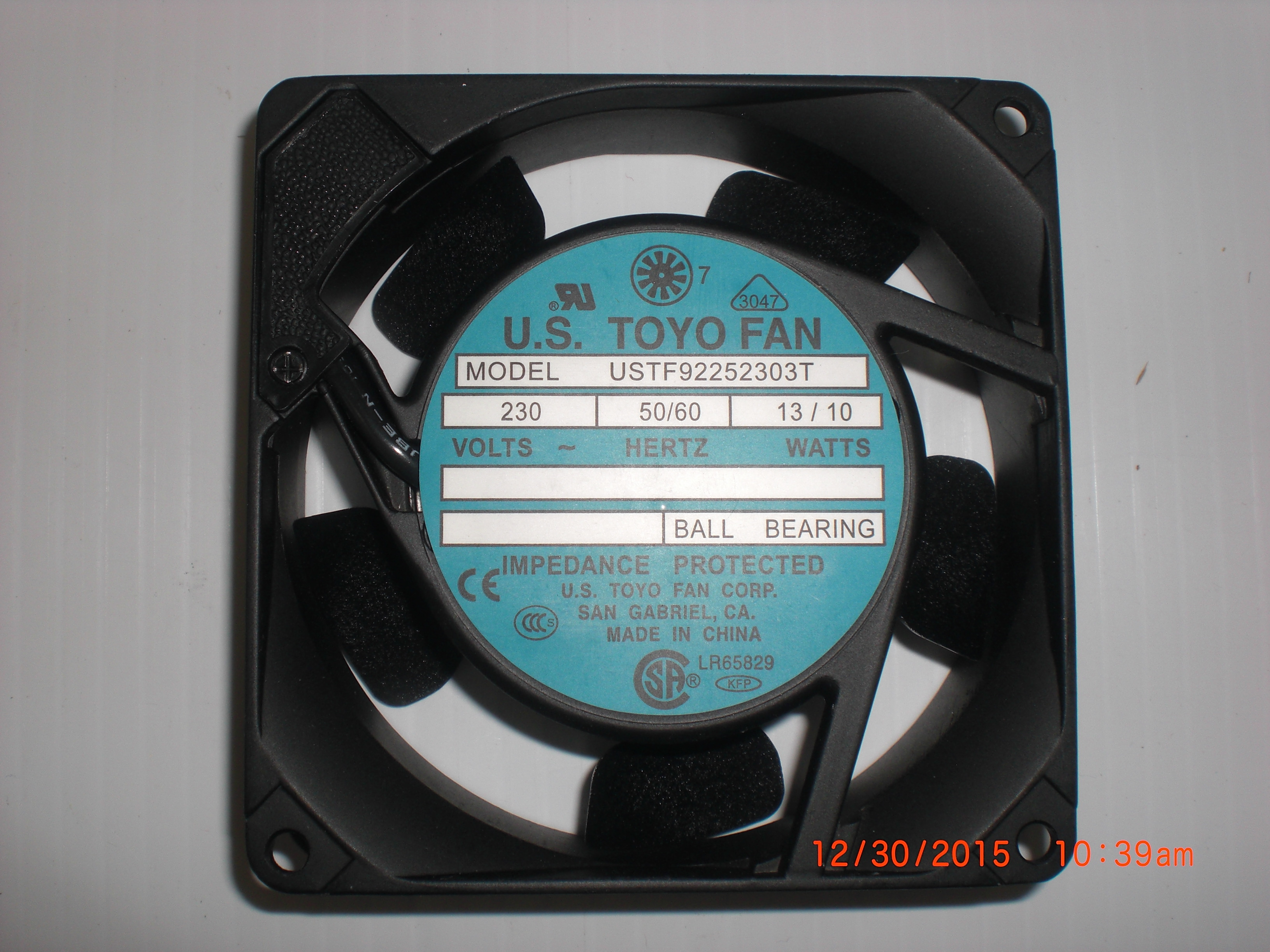 Fan  9 x9mm 230VAC US TOYO FAN USTF92252303T