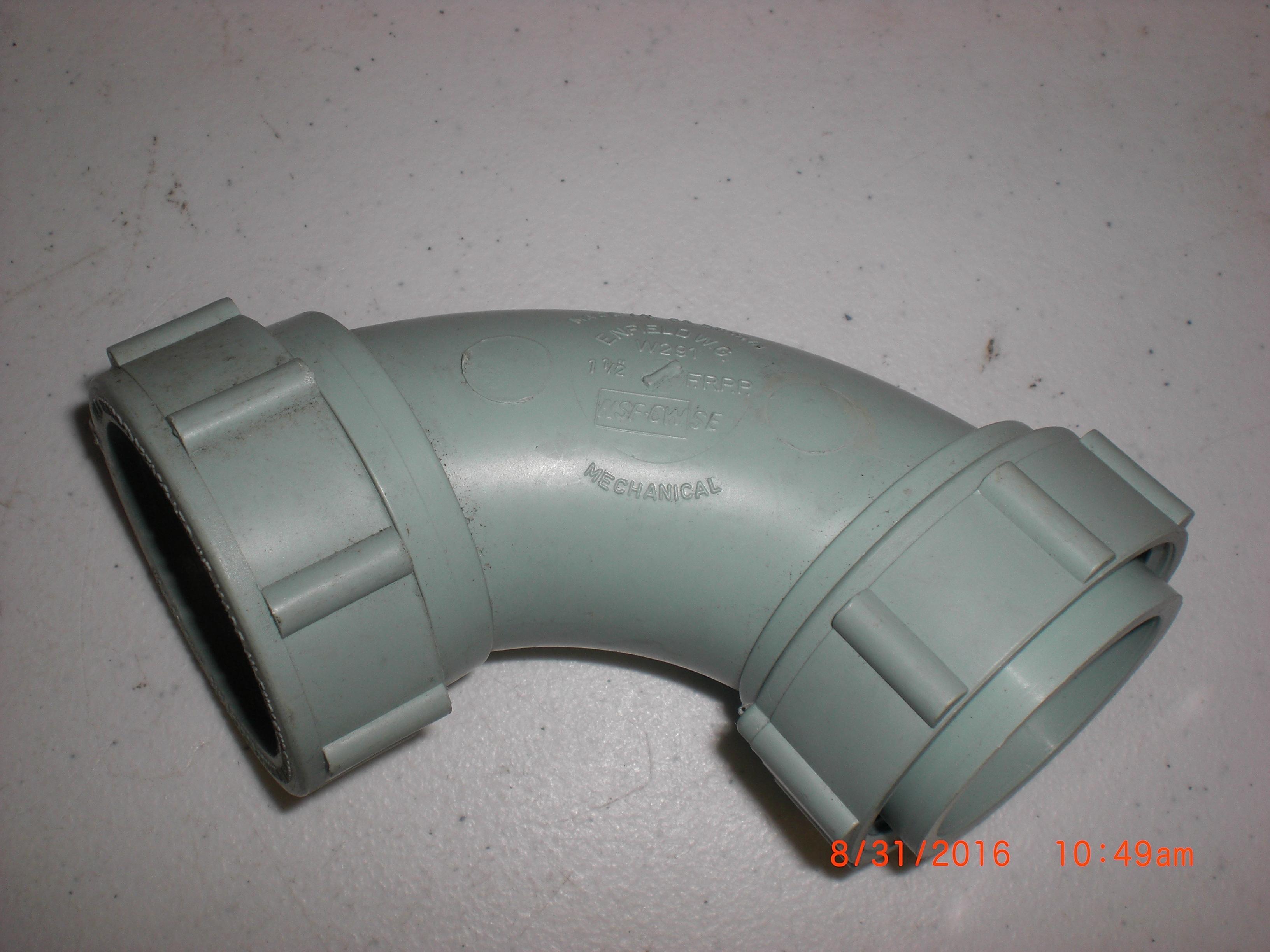 Fitting Enfield W291 Labline 11/2in LOOSE NUT 1/4 BEND MJ x LN FRPP acid waste