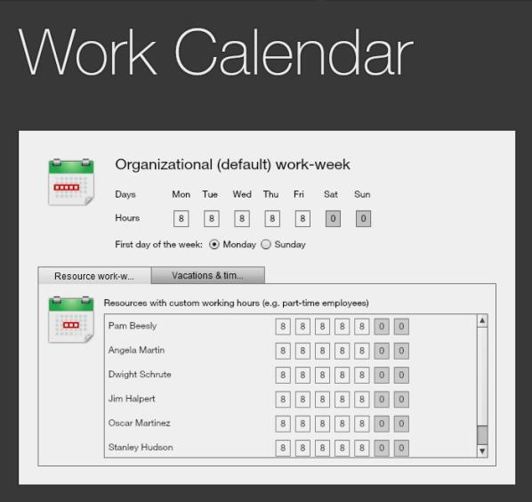 Gigantt Blog: New Feature: Work Calendar