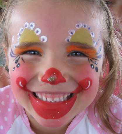 Hire clowns at party california face painter in for Face painting clowns for birthday parties