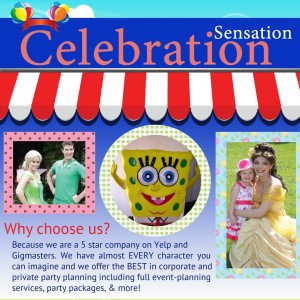 Celebration Sensation - Costumed Character / Superhero Party in Los Angeles, California