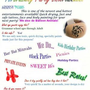Kimba's Airbrush Tatoo Party Entertainment