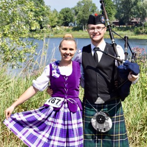 Scottish Bagpiper and Highland Dancer