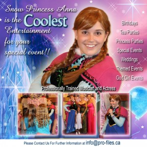 Snow Princess Anna - Princess Party in Barrie, Ontario
