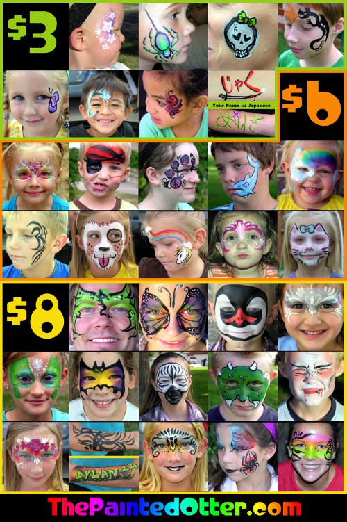 Hire the painted otter face and body art face painter in for Face painting rates
