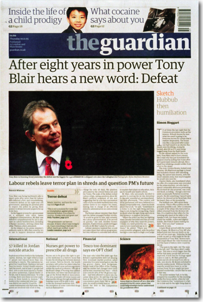 A Guardian story about Tony Blair with a sidebar containing a related account of a parliamentary session