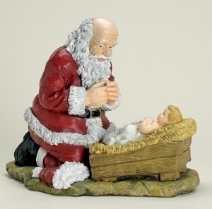 Santa Bowing Before Jesus