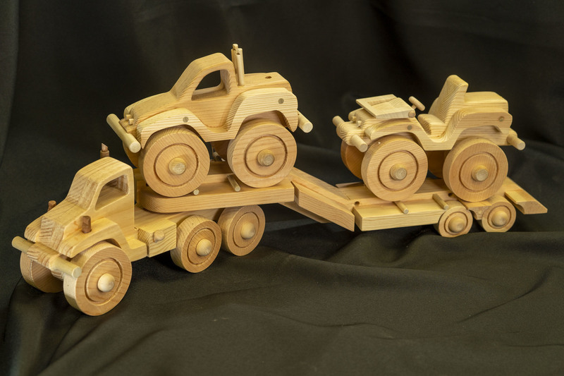 634 - Wooden Semi Truck Carrying Vehicles