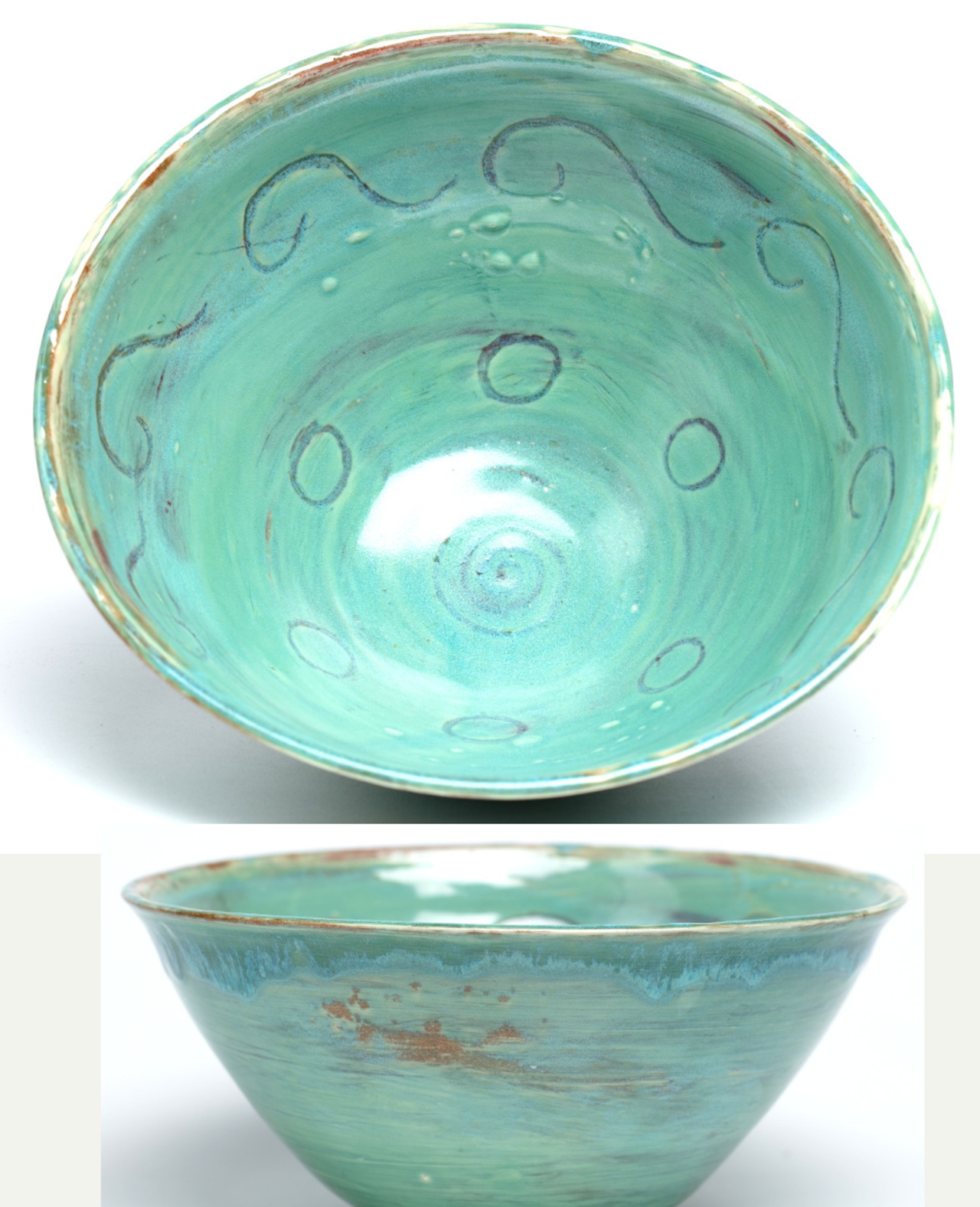 Turquoise large bowl with wave design