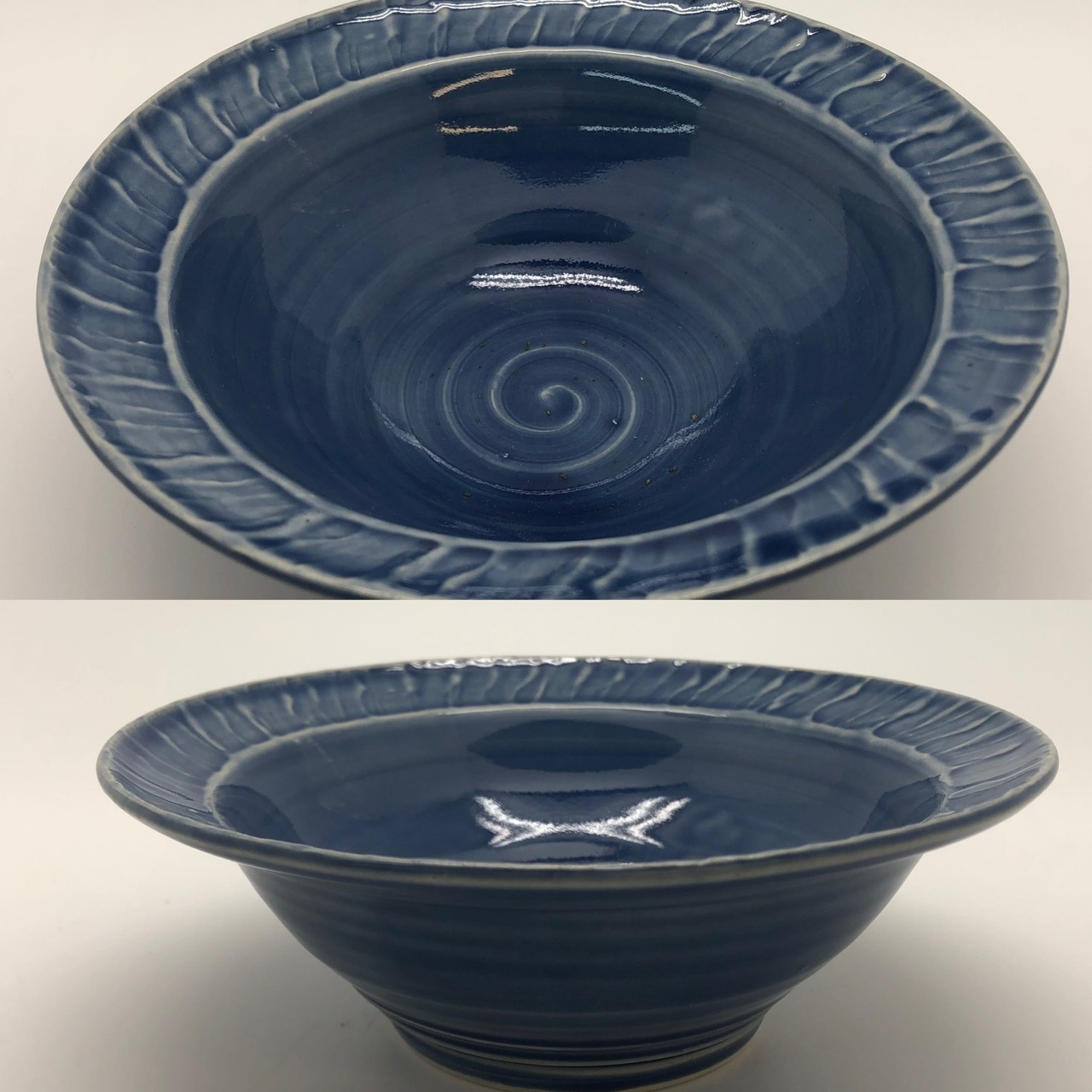 Country Blue Bowl with Rimmed Edge