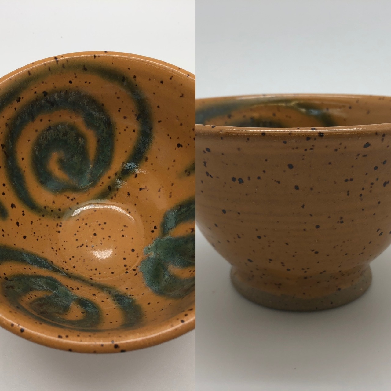 Mustard Speckled Bowl with Green Swirl