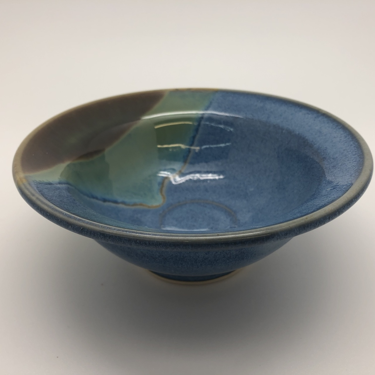 Blue Bowl with Brown/Green Dip Glaze