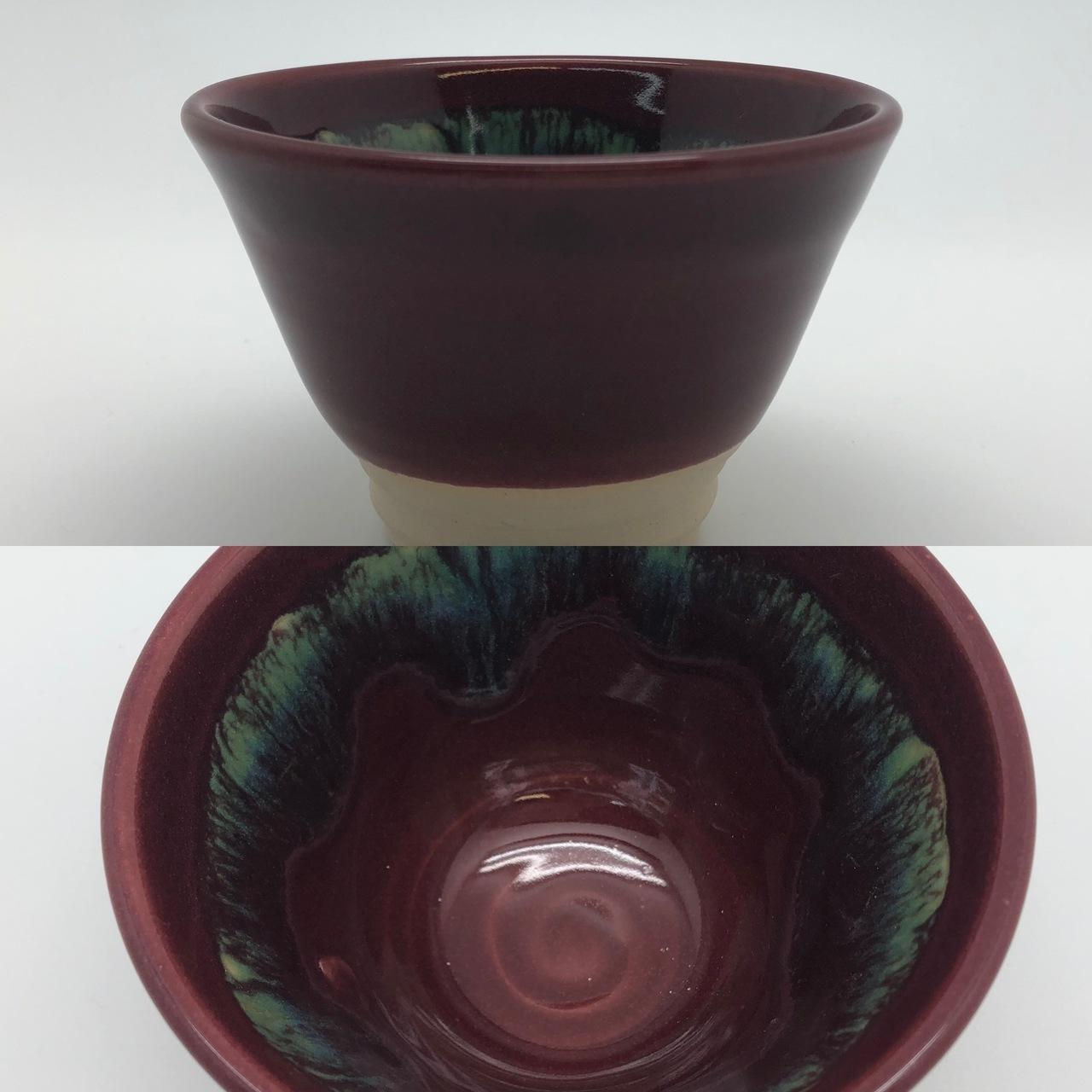 Burgundy Bowl with Green Splash Interior