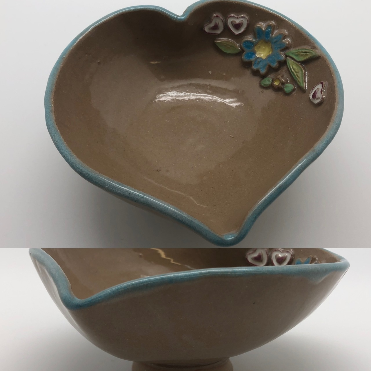 Heart Shaped Bowl with Flowers