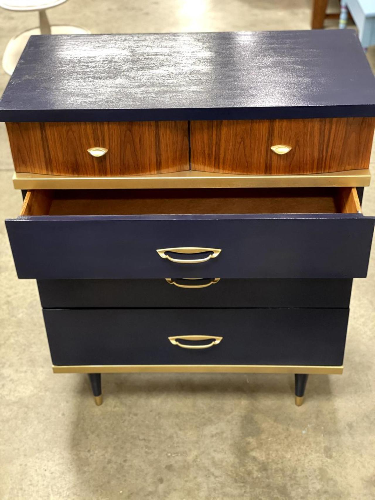 Item ZD - Refinished Navy & Gold Dresser