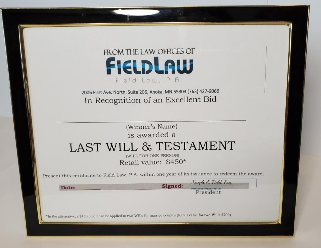 427. Last Will and Testament