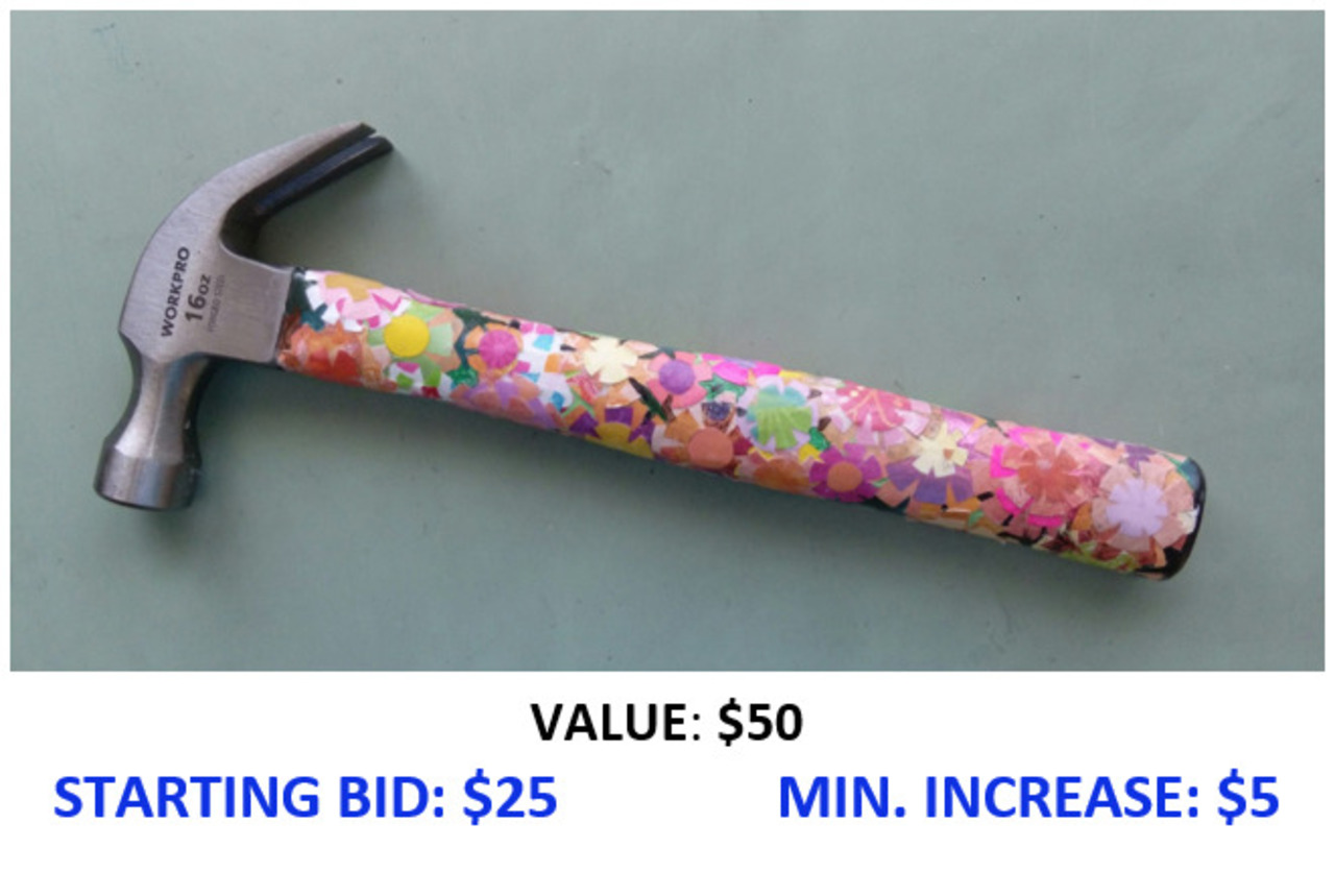 """Hand Decorated Hammer """"Floral Collage"""""""