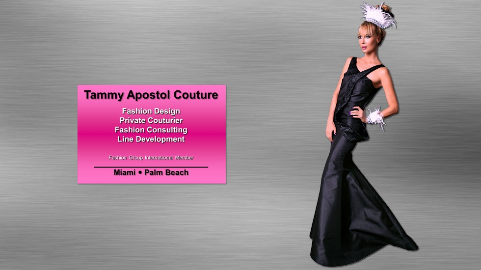 """Certificate towards an individually designed and custom made """"Women's Evening Couture Gown"""" by renowned Miami fashion designer Tammy Apostol."""
